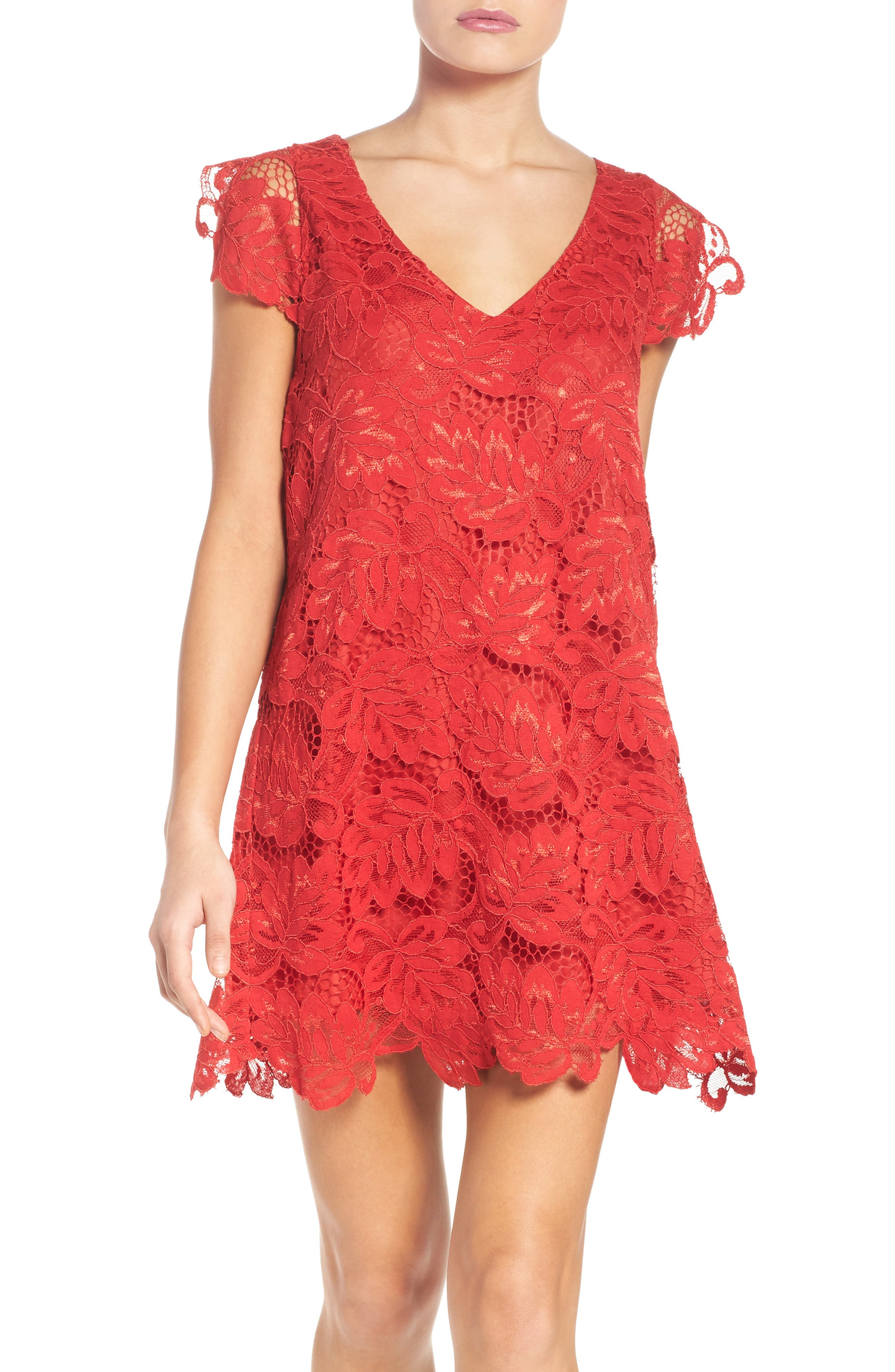 Bb Dakota Jacqueline Lace Shift Dress, Red