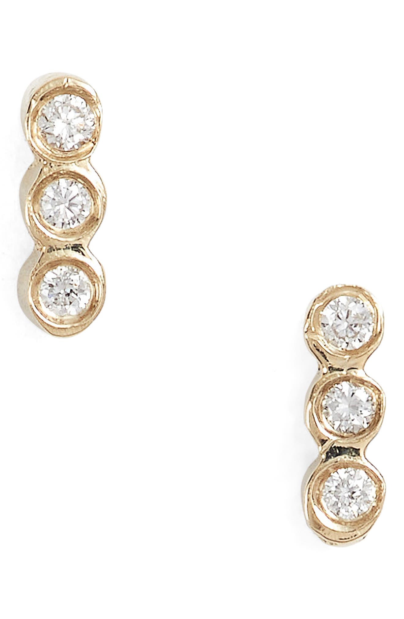 Diamond Bezel Bar Stud Earrings,                             Main thumbnail 1, color,                             YELLOW GOLD