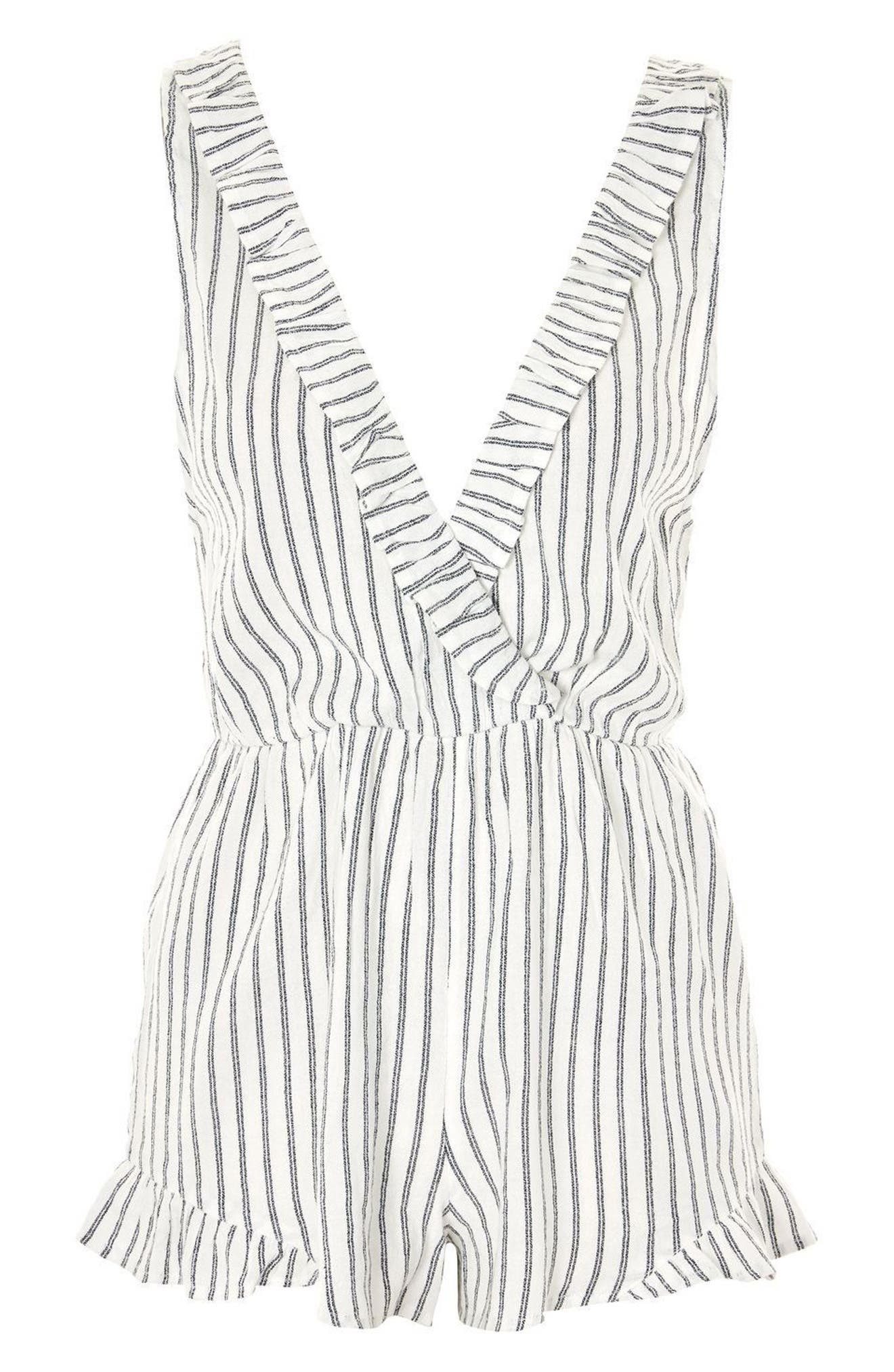 Stripe Wrap Playsuit,                             Alternate thumbnail 4, color,                             100