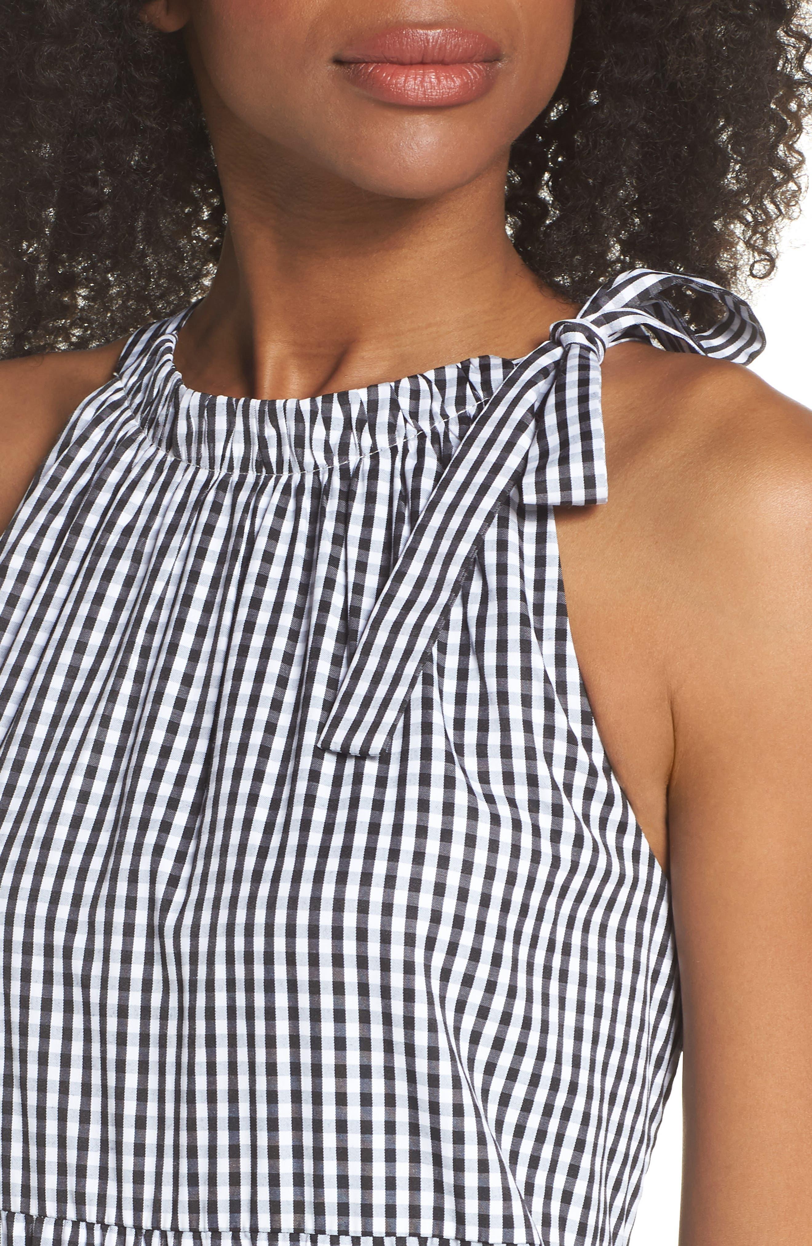 Gingham Check Maxi Dress,                             Alternate thumbnail 4, color,                             100