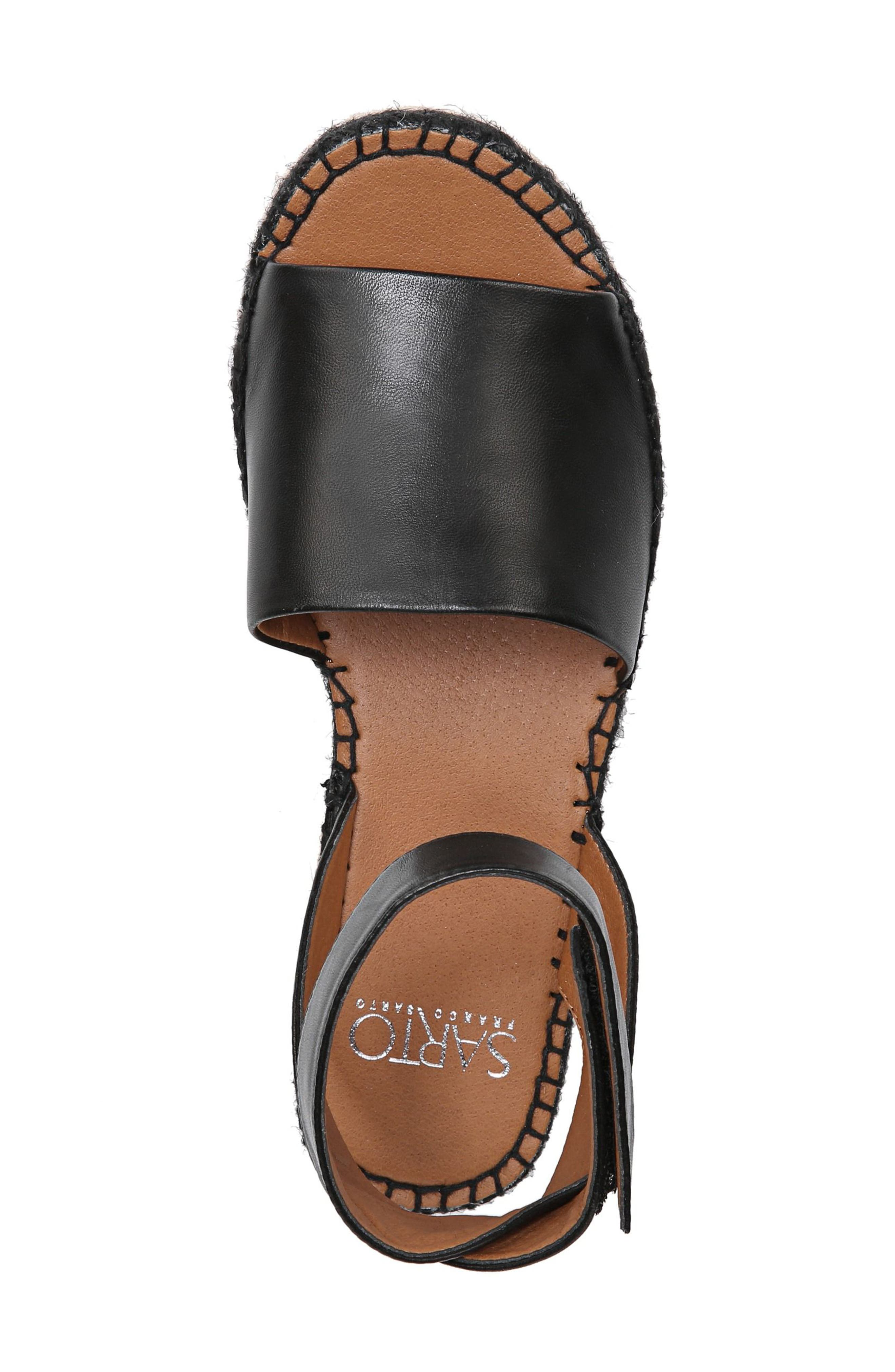 Maisi Platform Espadrille Sandal,                             Alternate thumbnail 5, color,                             BLACK LEATHER
