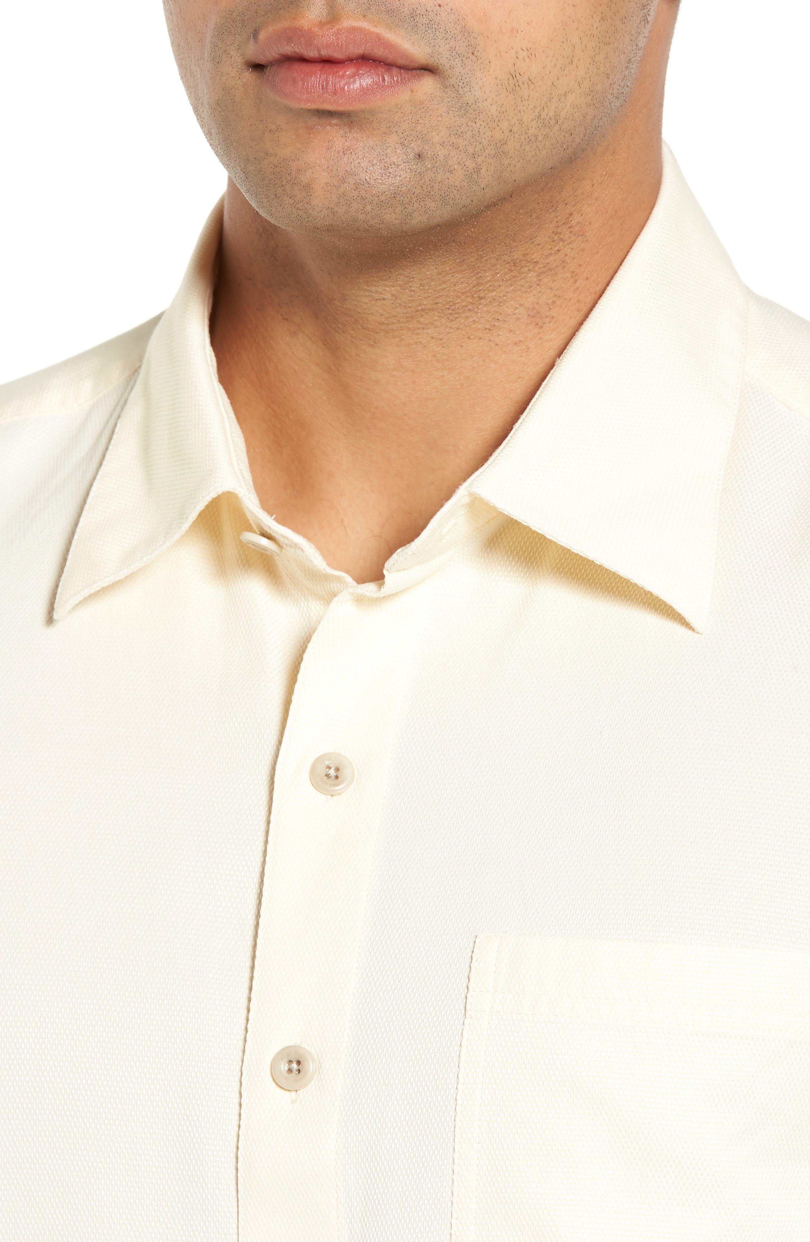 'Havana Cloth' Regular Fit Short Sleeve Silk & Cotton Sport Shirt,                             Alternate thumbnail 4, color,                             100