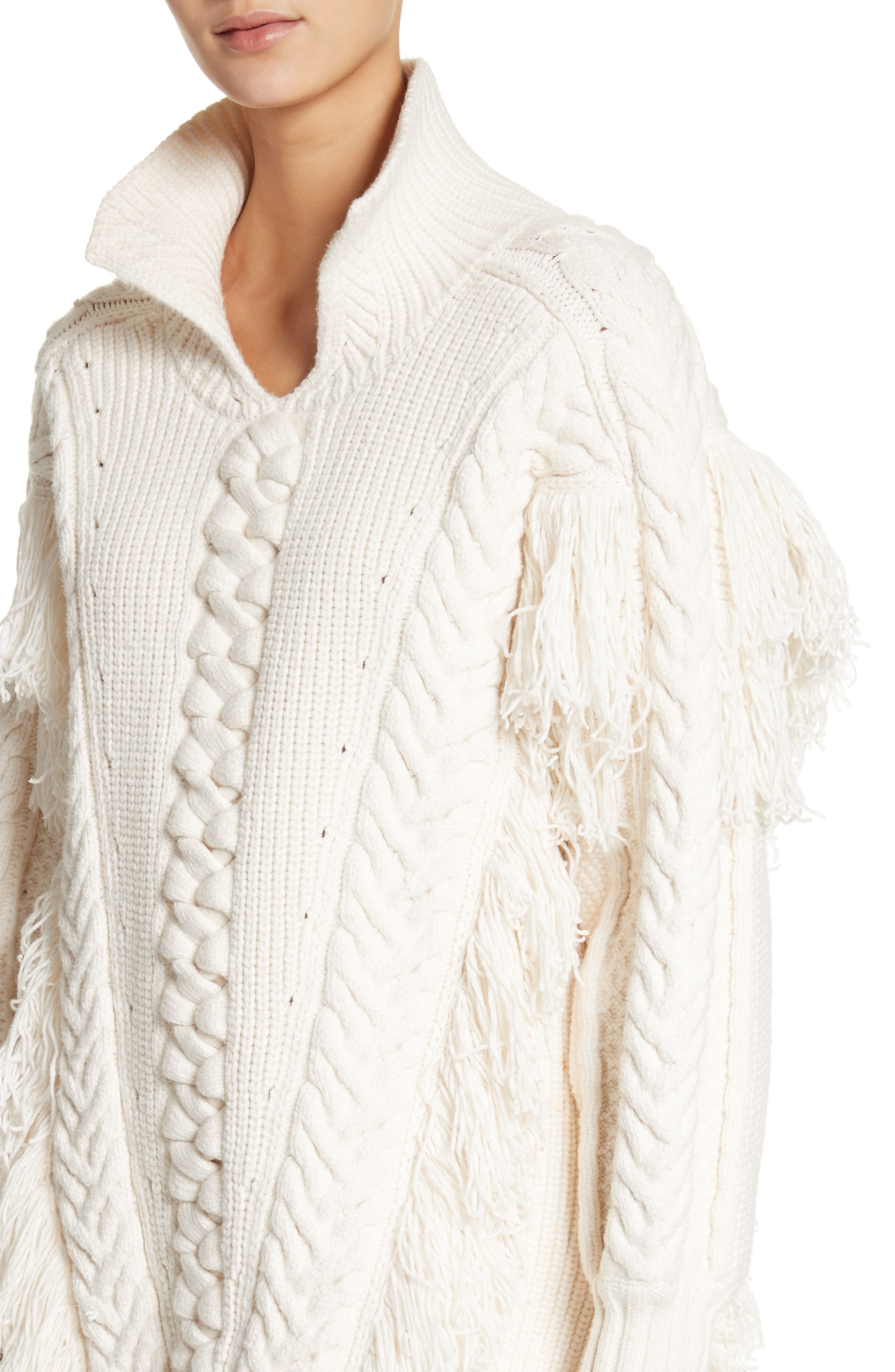 Borbore Fringed Cable Knit Sweater,                             Alternate thumbnail 4, color,                             103