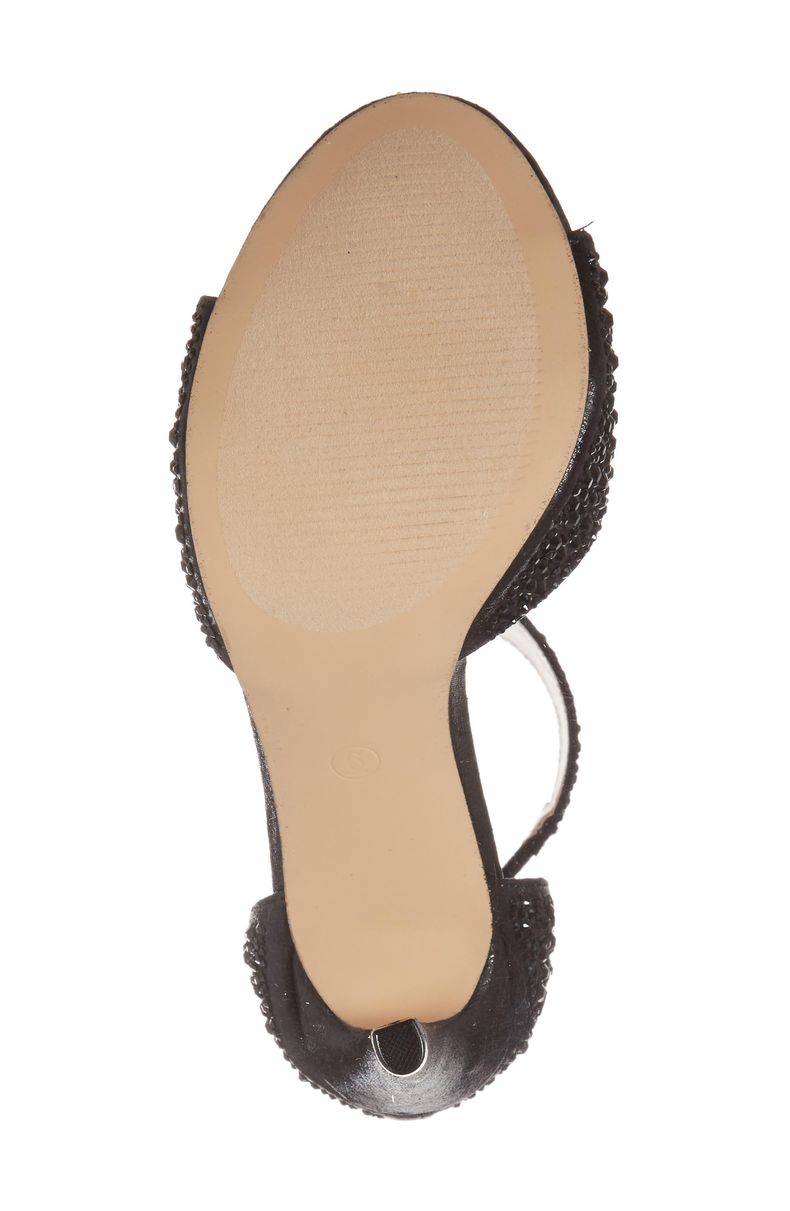 Ina Crystal Embellished Sandal,                             Alternate thumbnail 6, color,                             BLACK