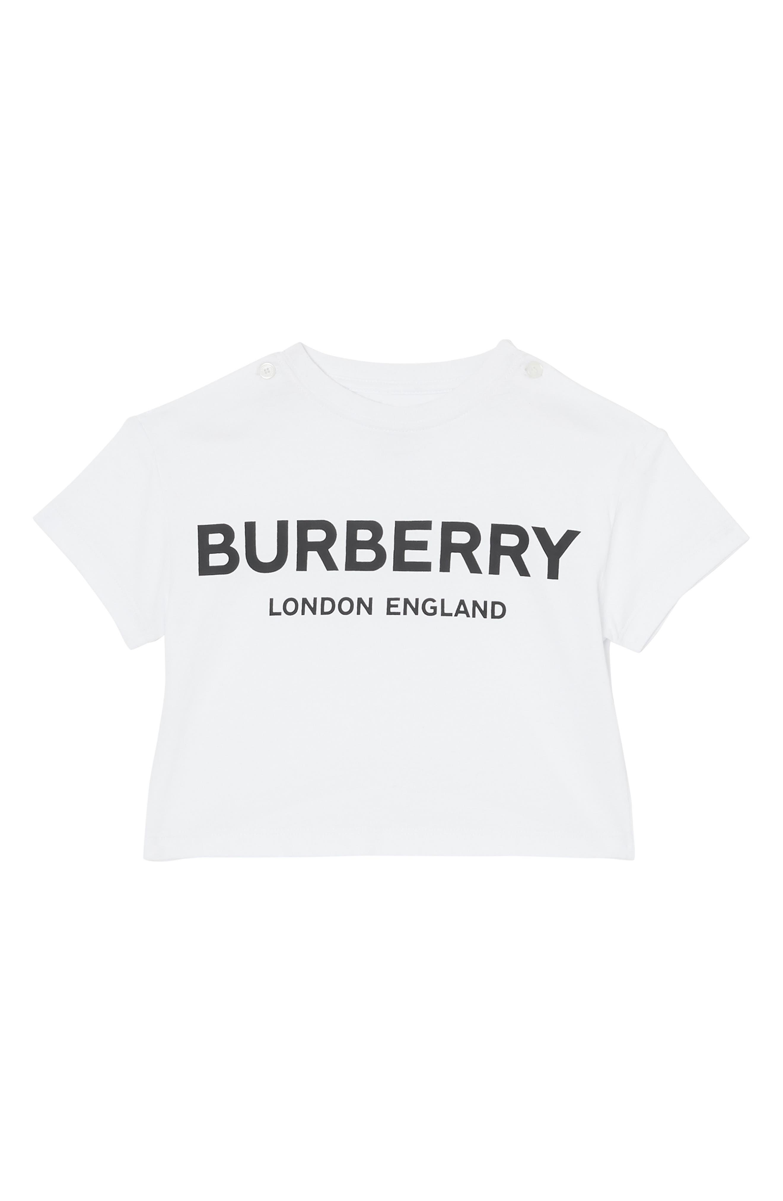 BURBERRY,                             Mini Robbie T-Shirt,                             Main thumbnail 1, color,                             100