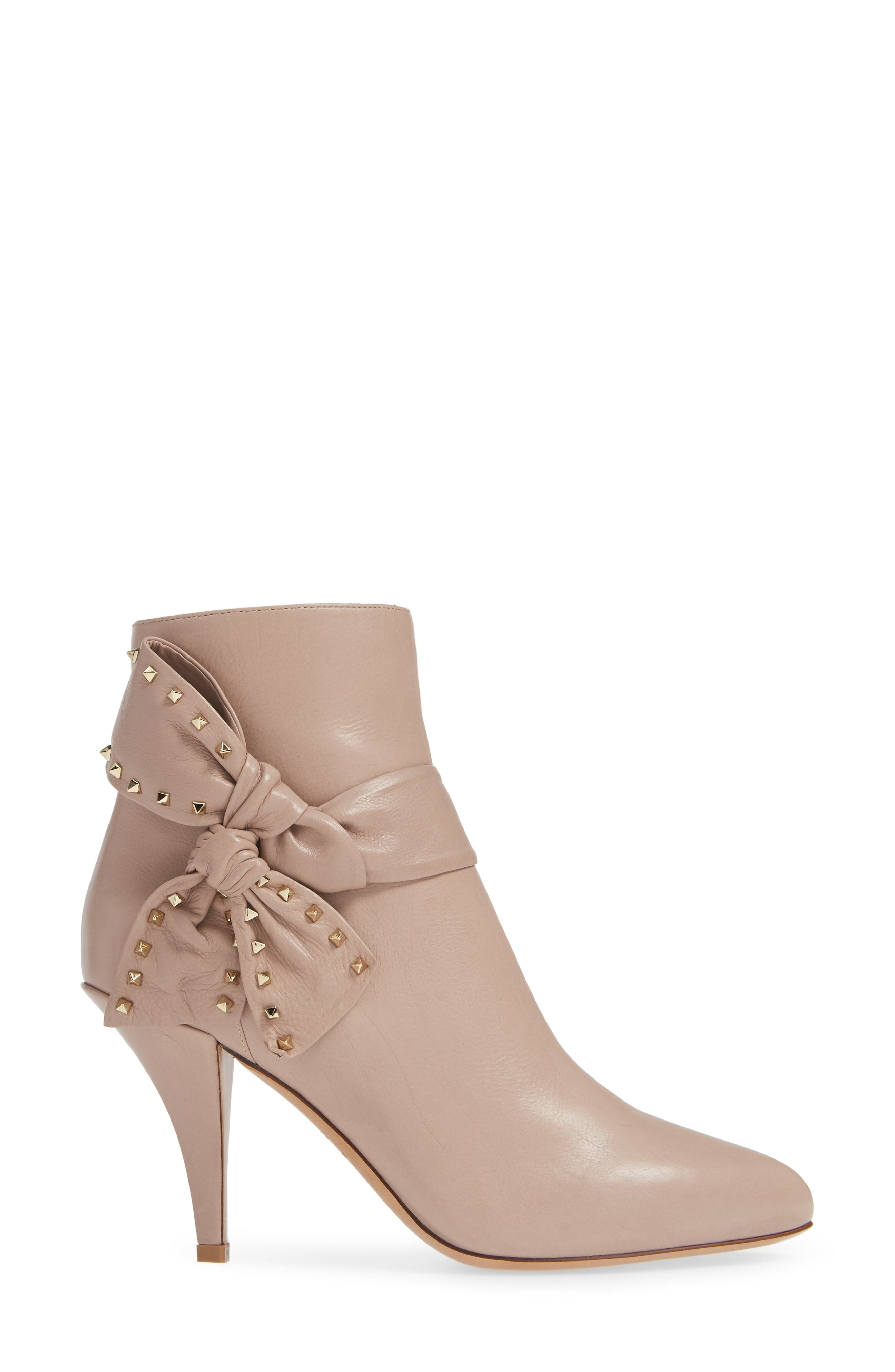 Studded Bow Ankle Bootie,                             Alternate thumbnail 3, color,                             250