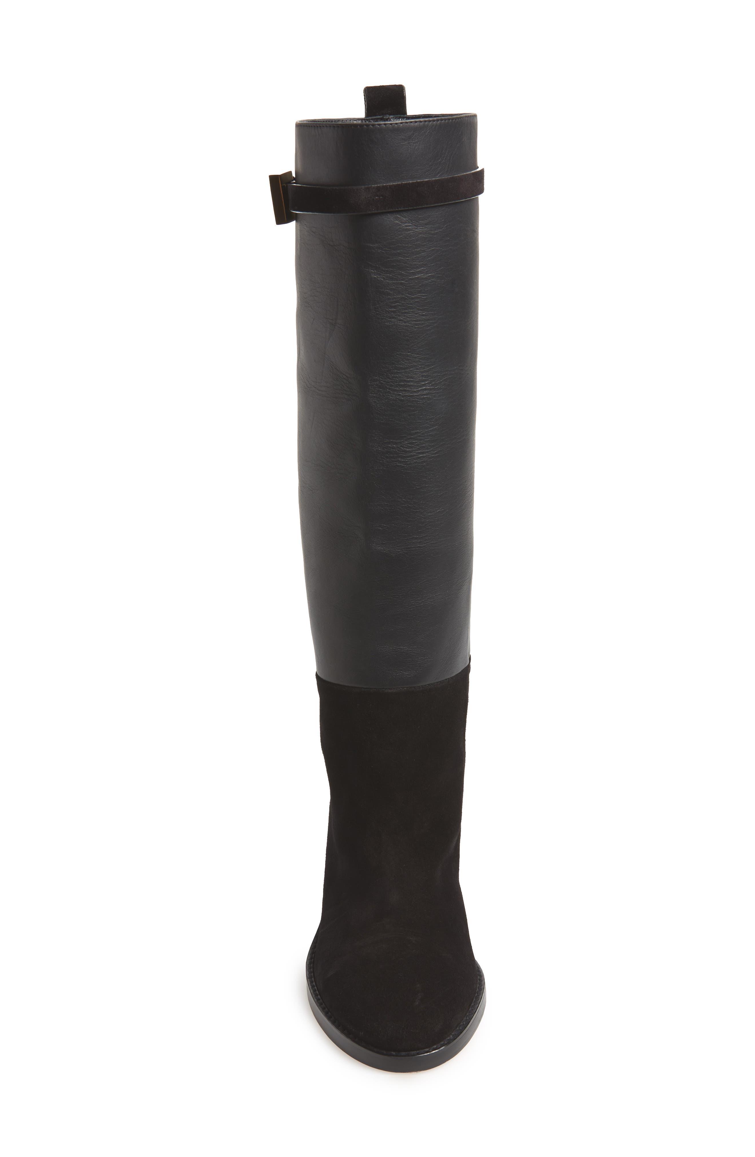 Morrison Knee High Boot,                             Alternate thumbnail 4, color,                             BLACK FEZ
