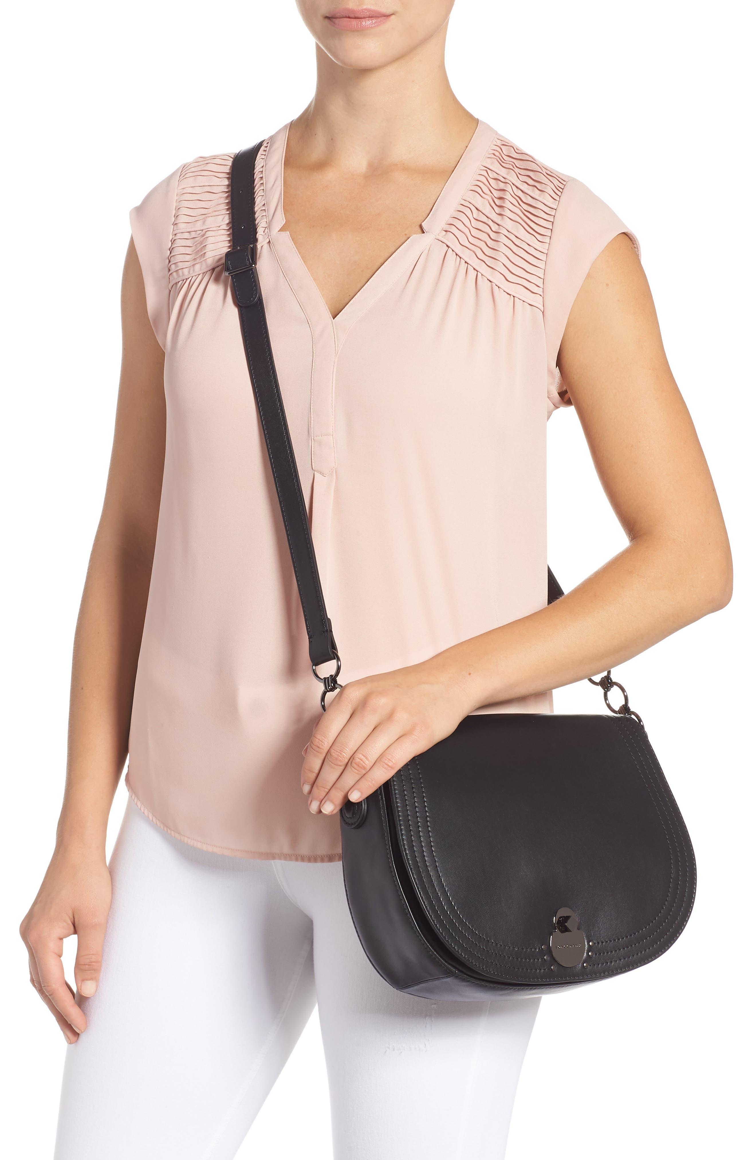 Medium Cavalcade Leather Saddle Bag,                             Alternate thumbnail 2, color,                             BLACK