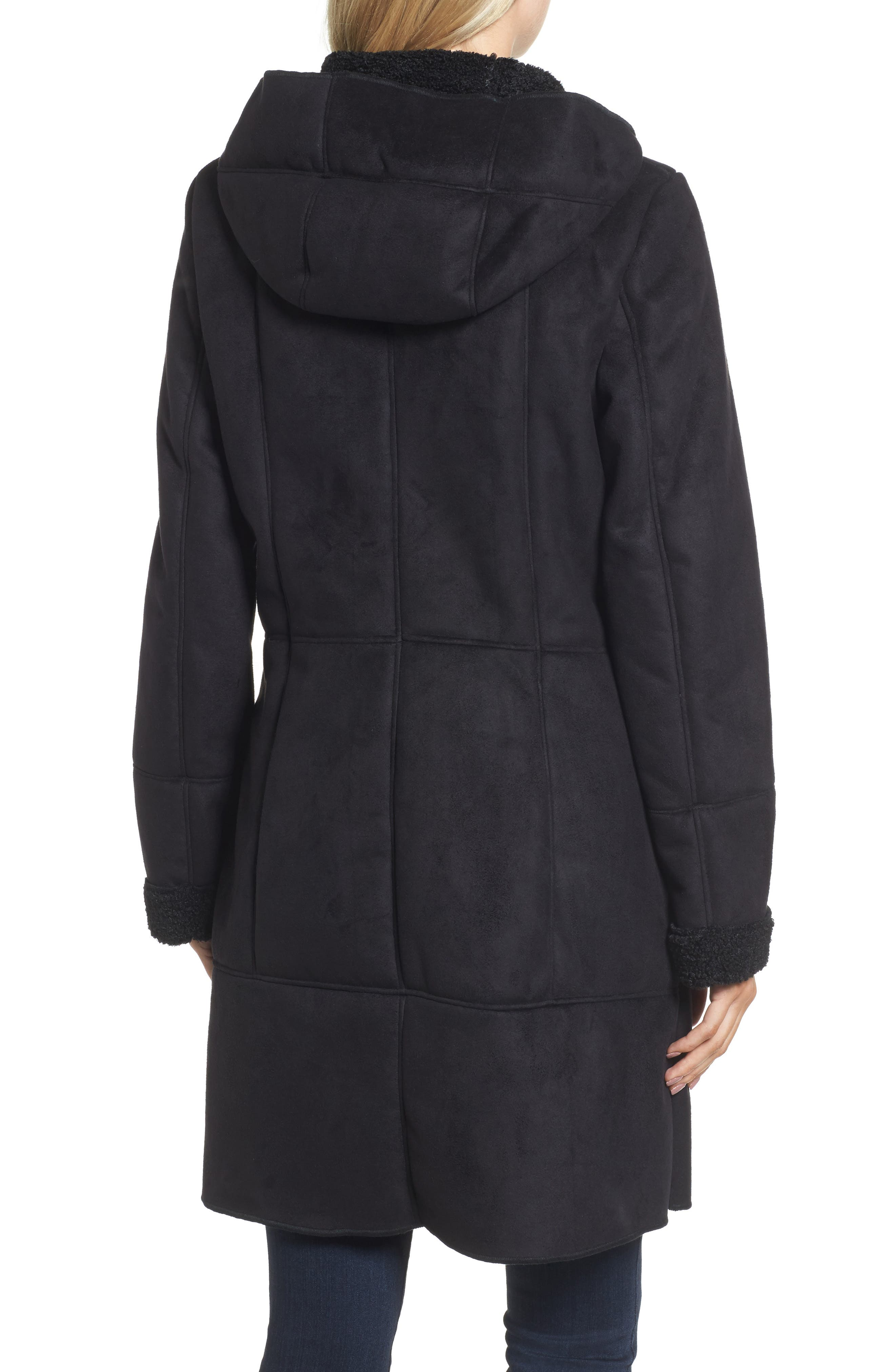 Faux Shearling Hooded Coat,                             Alternate thumbnail 2, color,                             001
