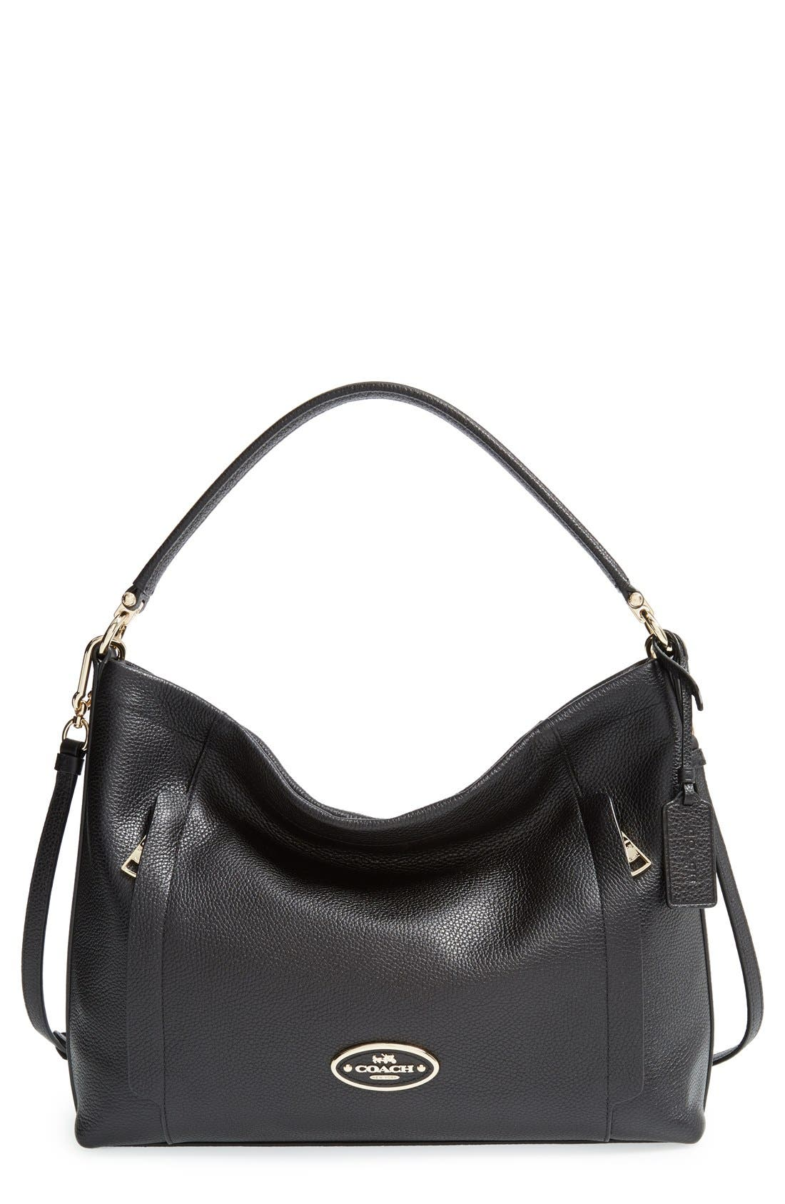 'Scout' Leather Hobo, Main, color, 001