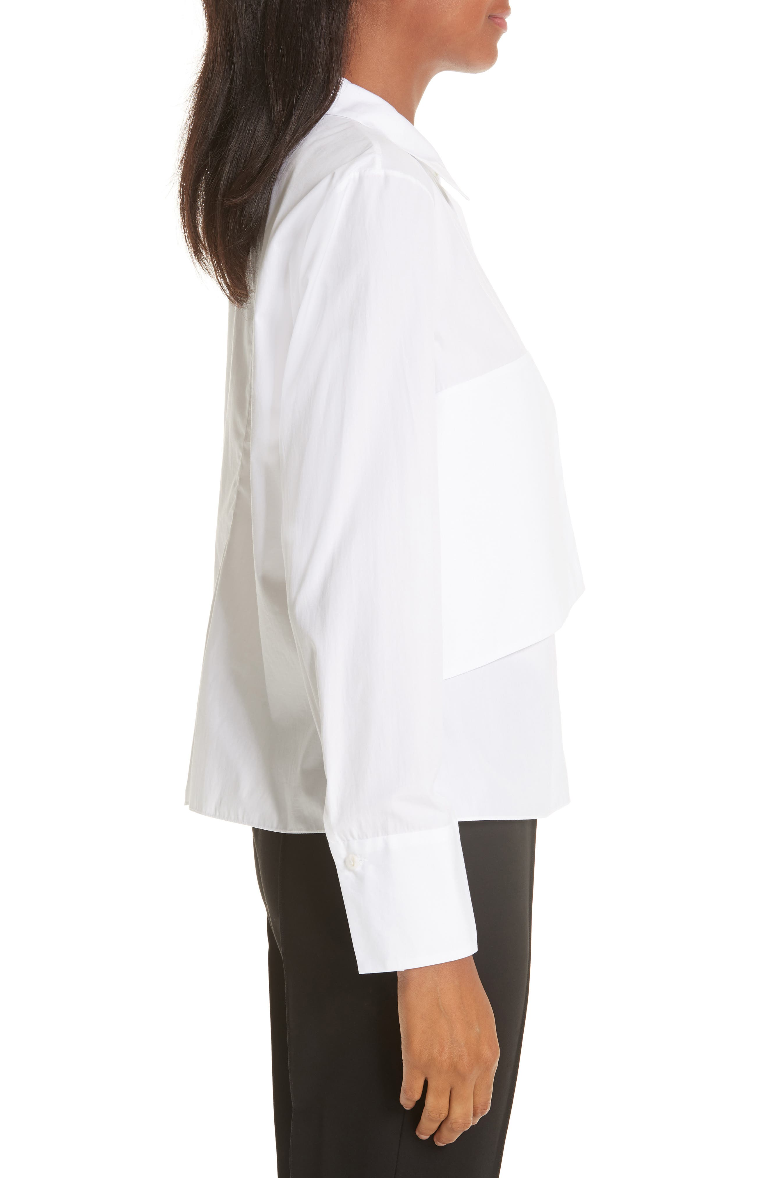 Brushed Cotton Top,                             Alternate thumbnail 3, color,                             WHITE