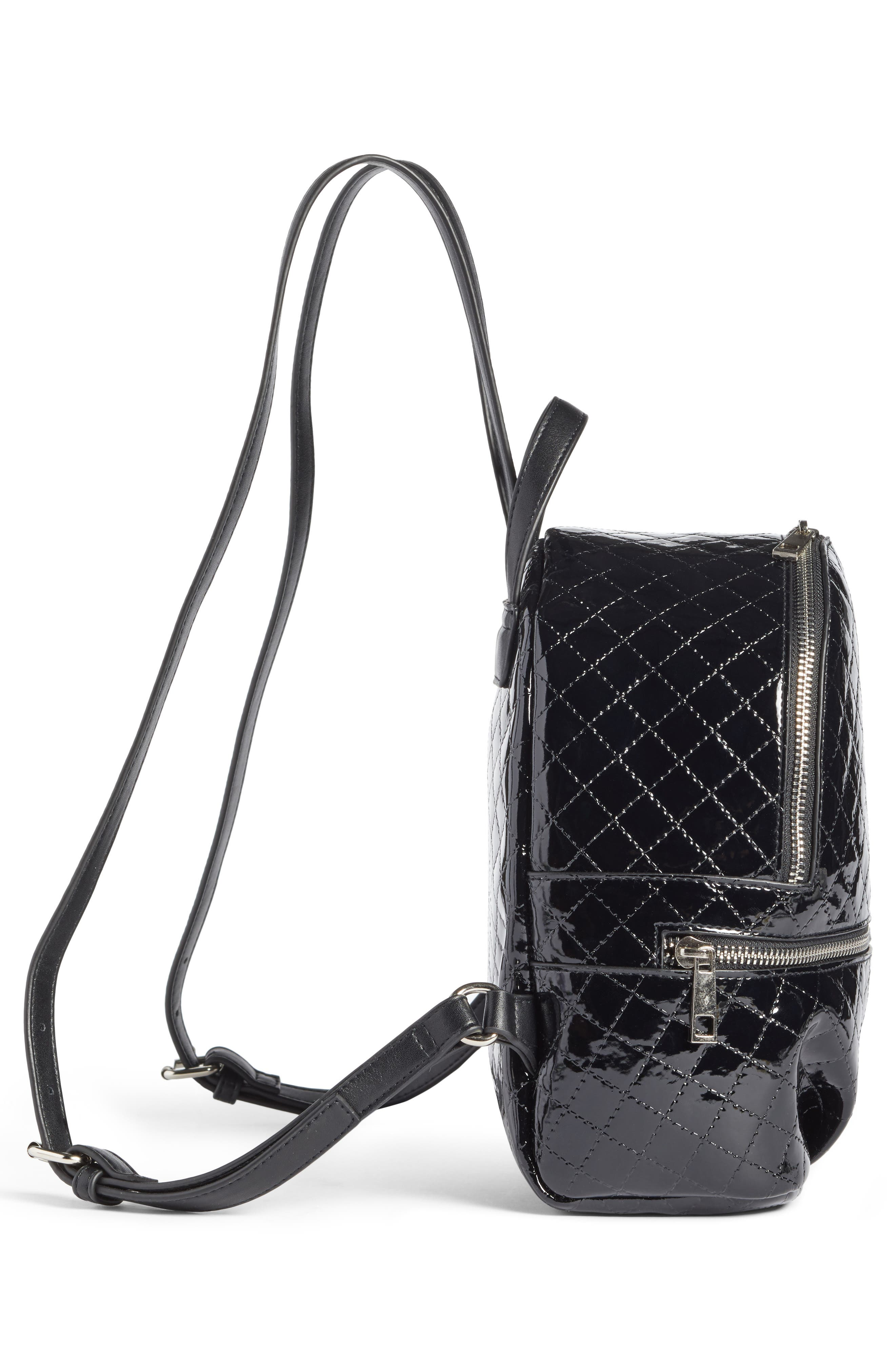 Quilted Faux Patent Backpack,                             Alternate thumbnail 5, color,                             001