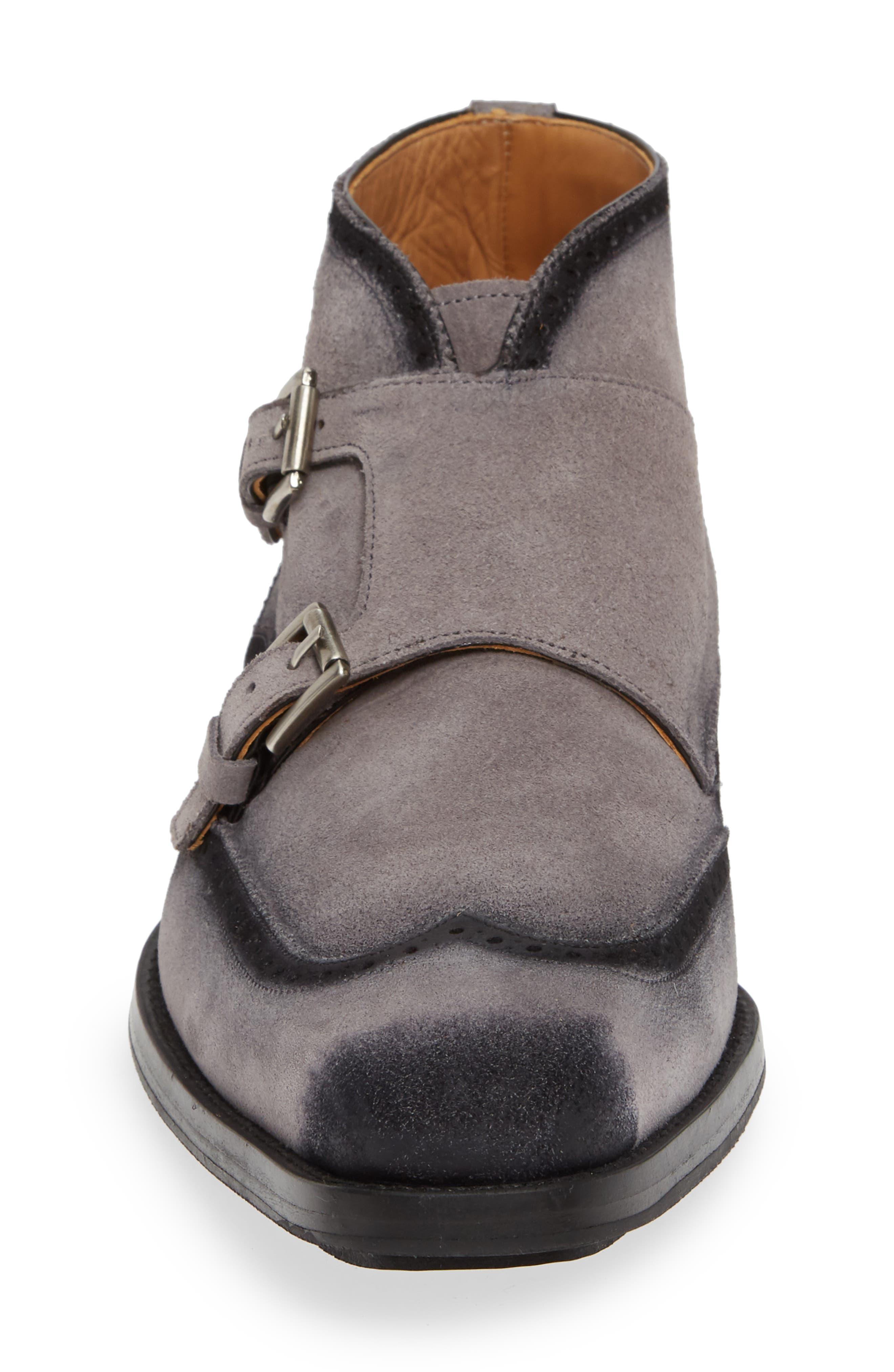 Munoz Double Monk Strap Boot,                             Alternate thumbnail 4, color,                             GREY SUEDE
