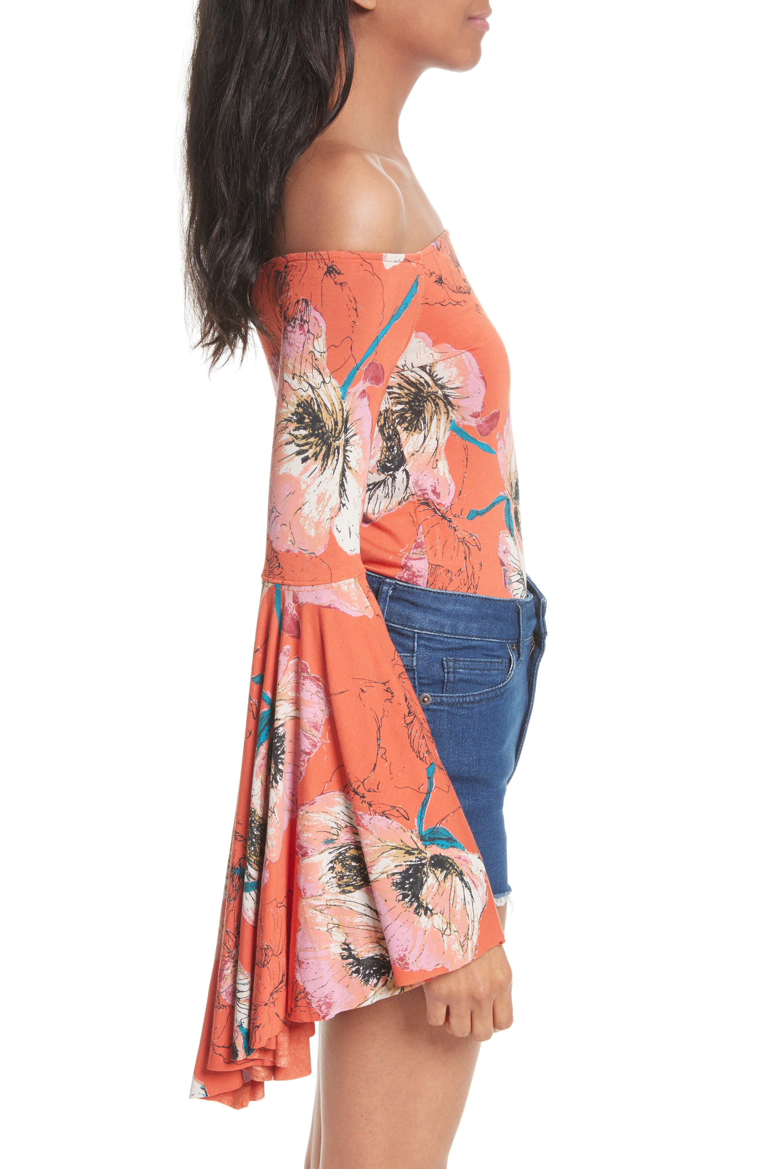 Birds of Paradise Print Off the Shoulder Top,                             Alternate thumbnail 12, color,