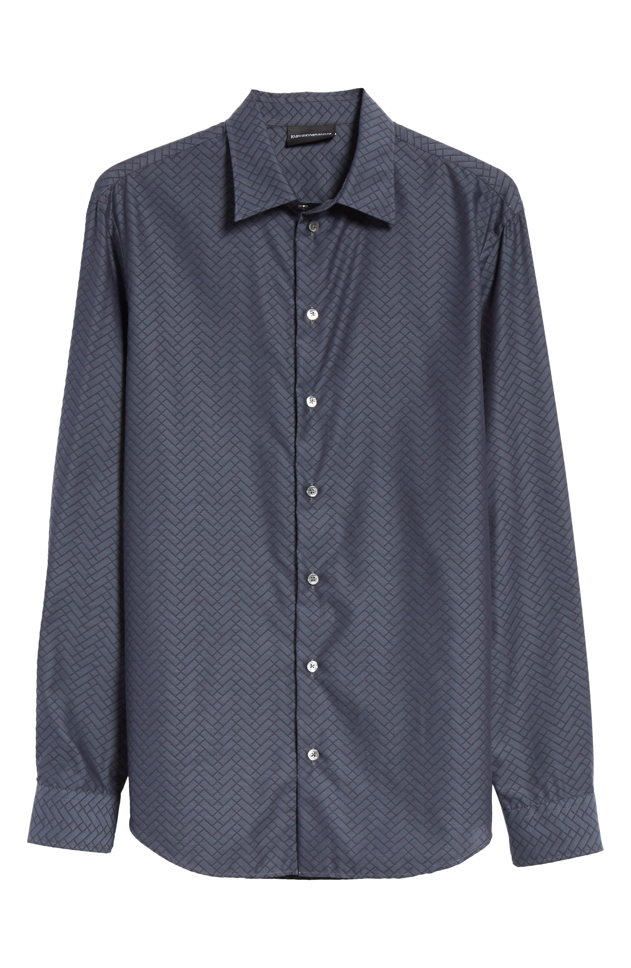 Regular Fit Geometric Sport Shirt,                             Alternate thumbnail 6, color,                             GREY