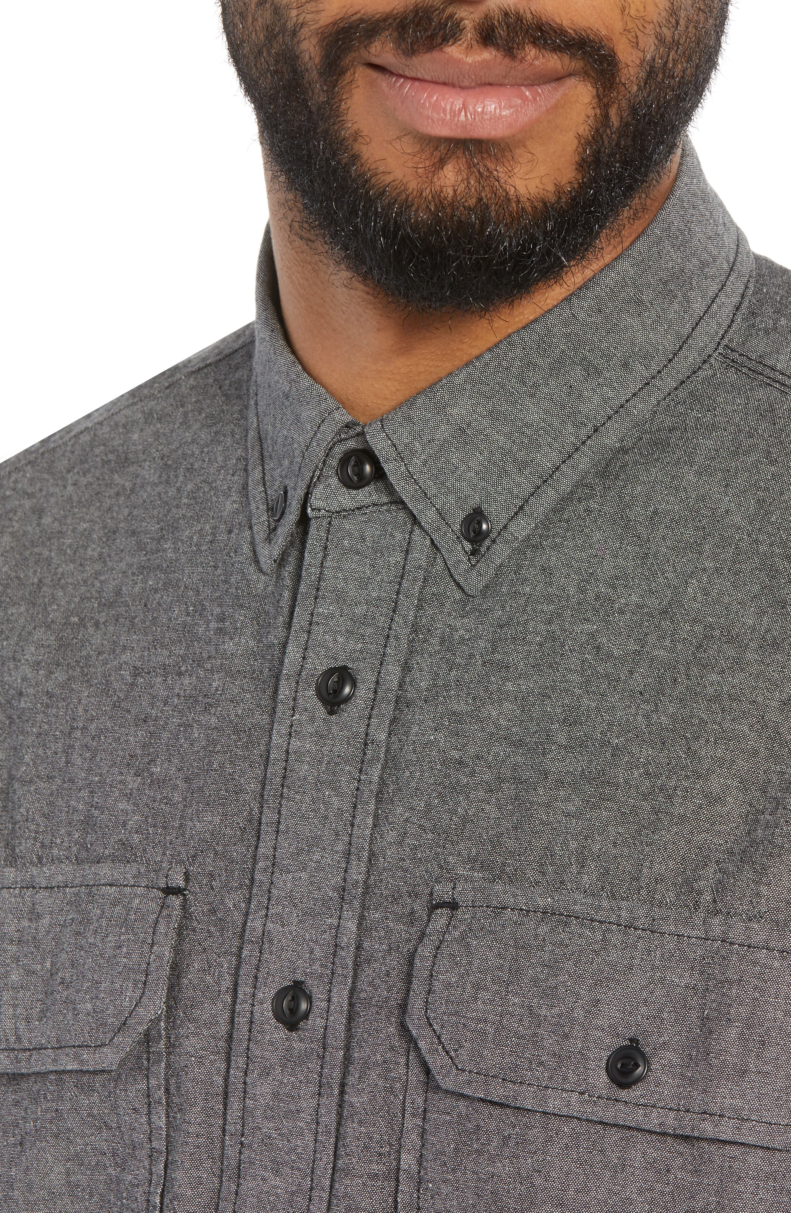 Hudson Regular Fit Chambray Sport Shirt,                             Alternate thumbnail 4, color,                             035
