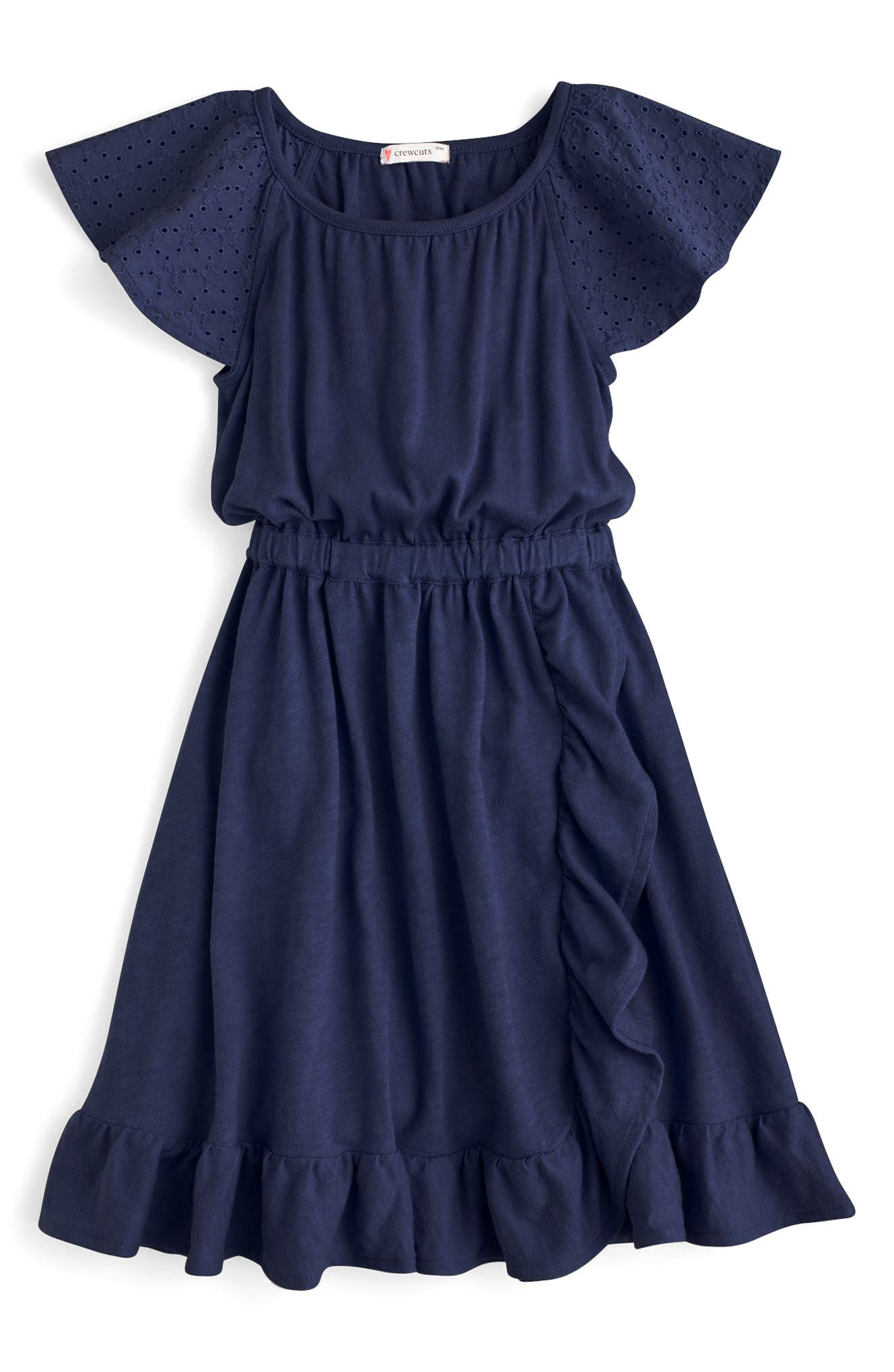 Sorelle Eyelet Ruffle Dress,                             Main thumbnail 1, color,                             400