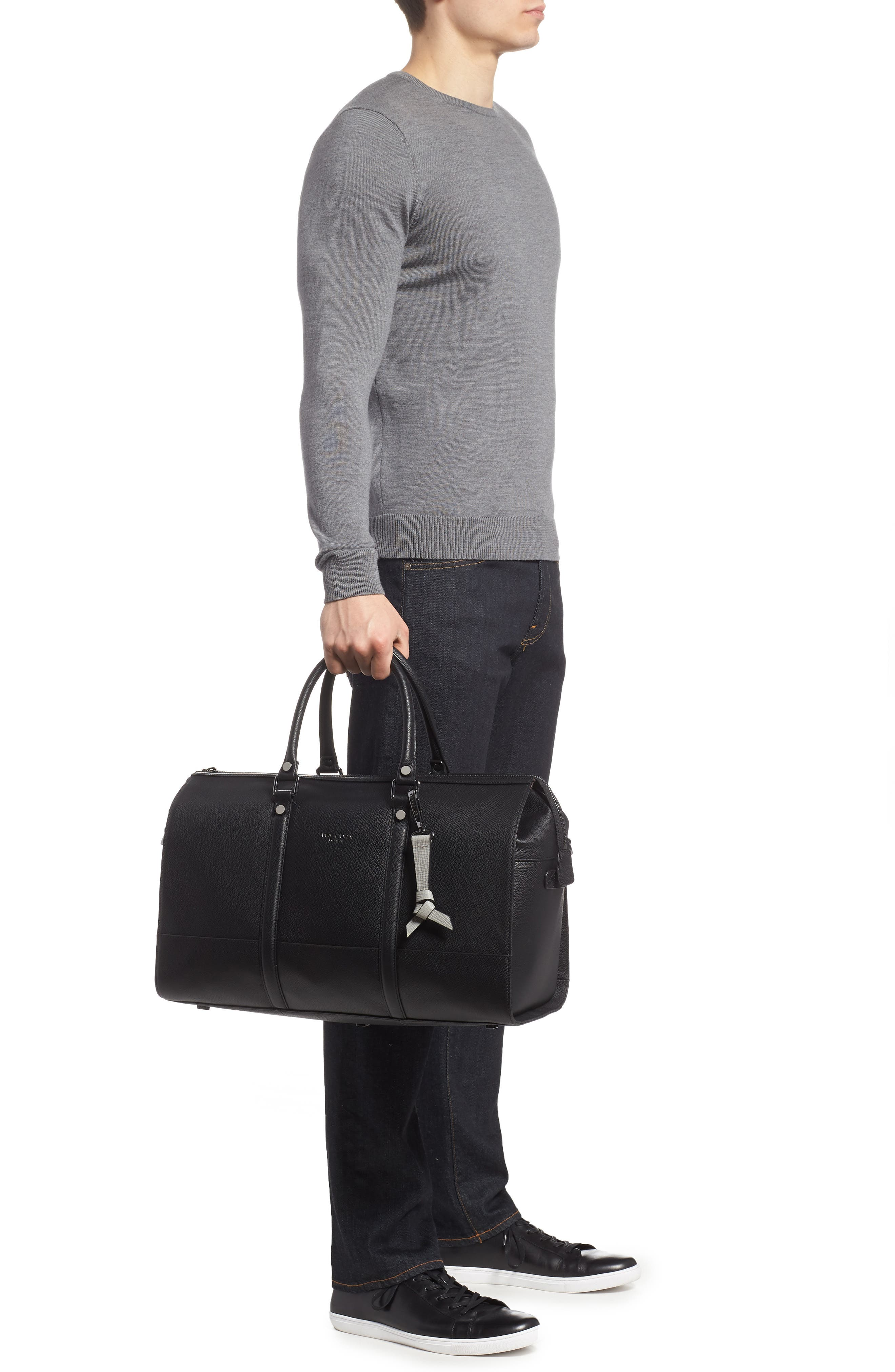 Leather Duffel Bag,                             Alternate thumbnail 2, color,                             001