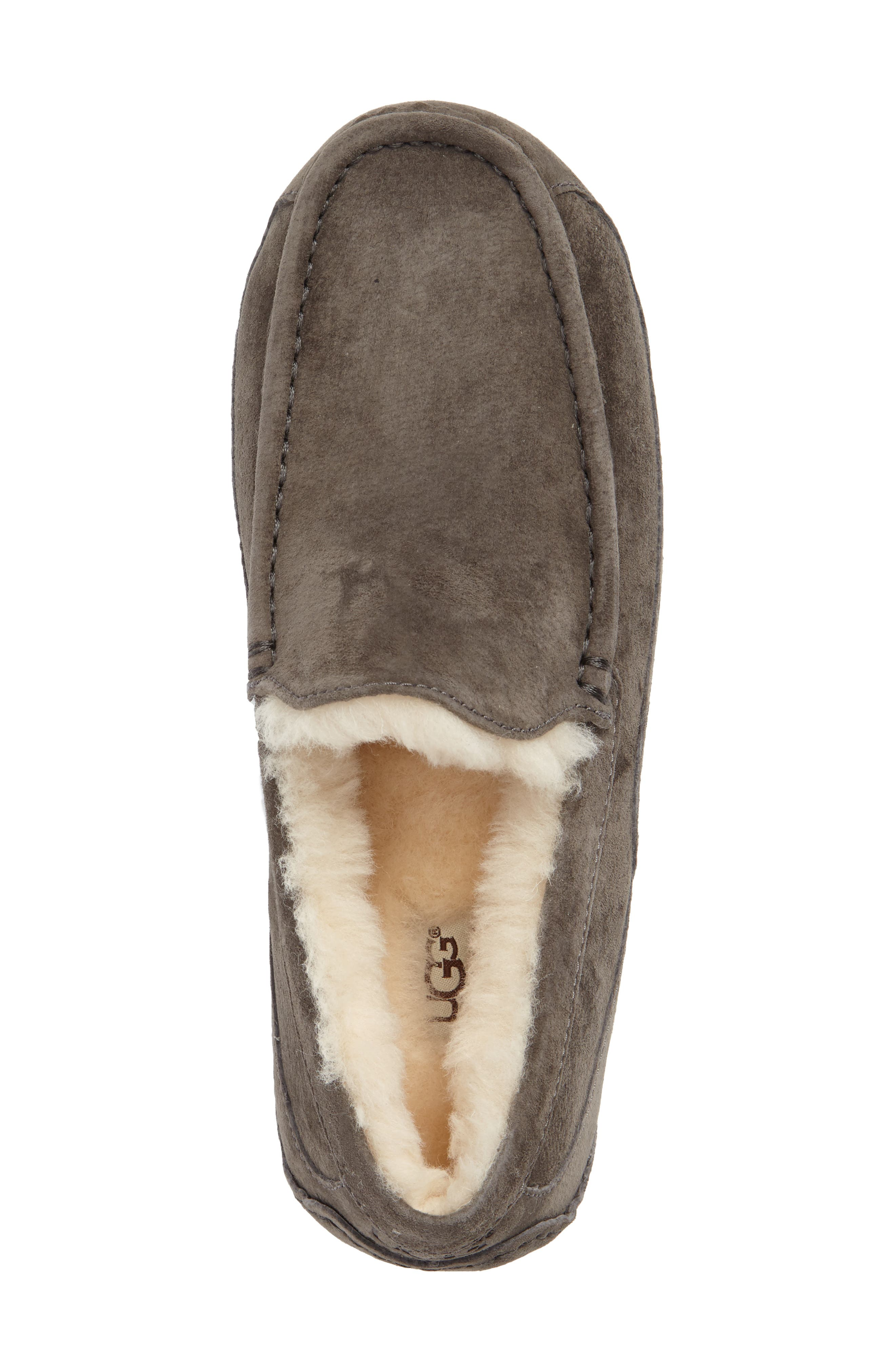 Ascot Suede Slipper,                             Alternate thumbnail 3, color,                             CHARCOAL