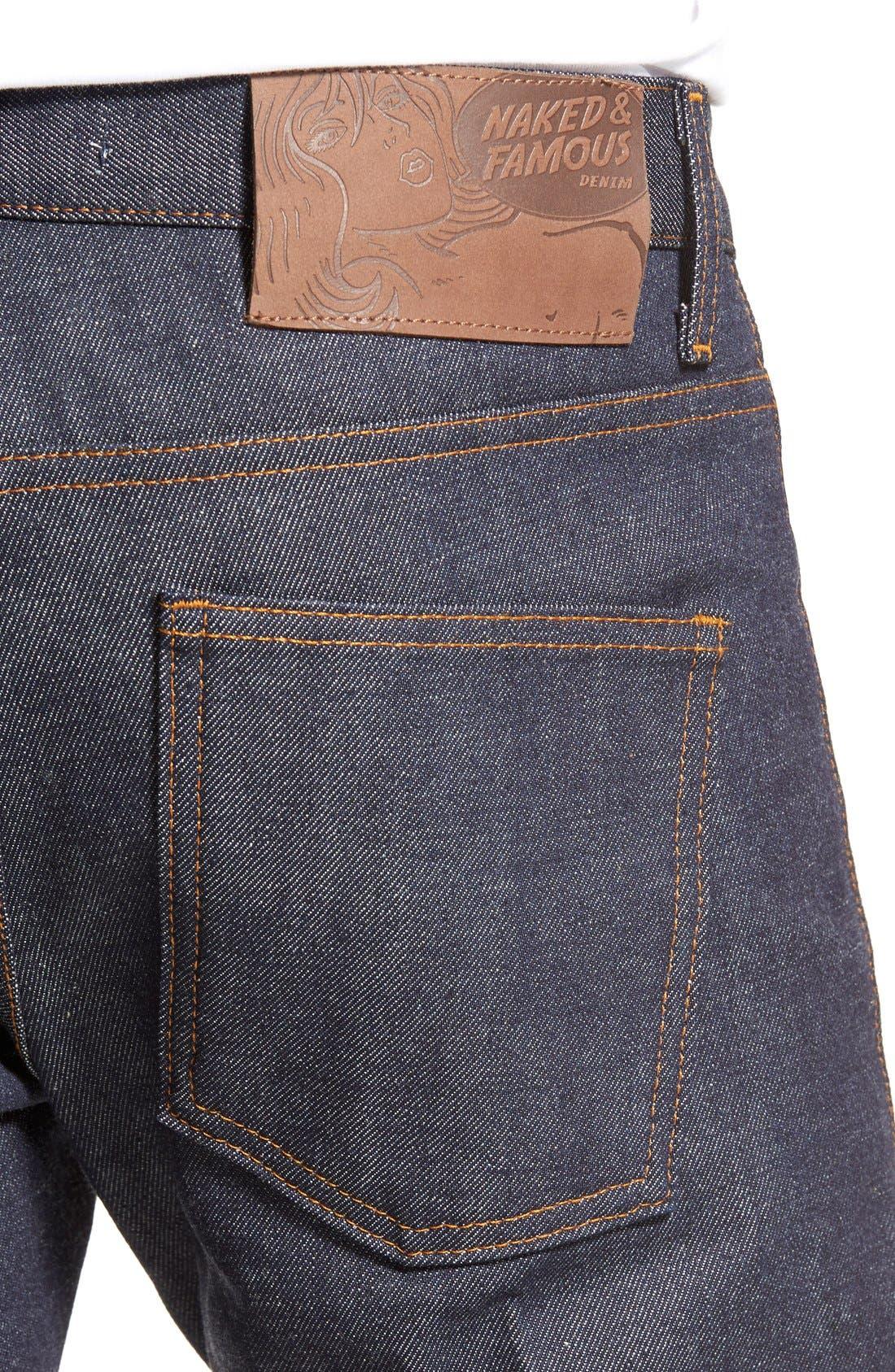 Super Skinny Guy Skinny Fit Selvedge Jeans,                             Alternate thumbnail 4, color,                             INDIGO