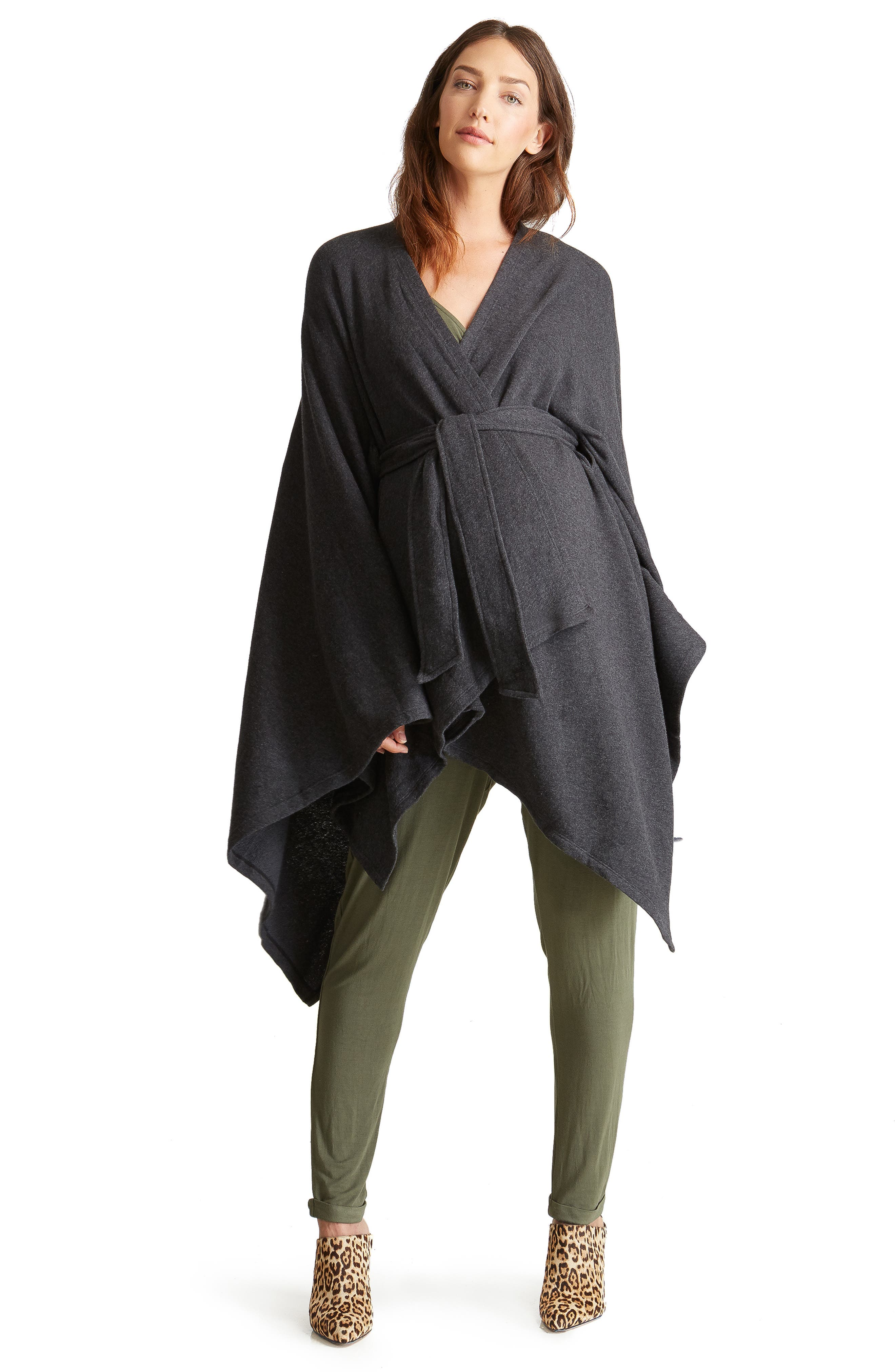 Cozy Maternity Wrap,                             Alternate thumbnail 5, color,                             CHARCOAL GREY
