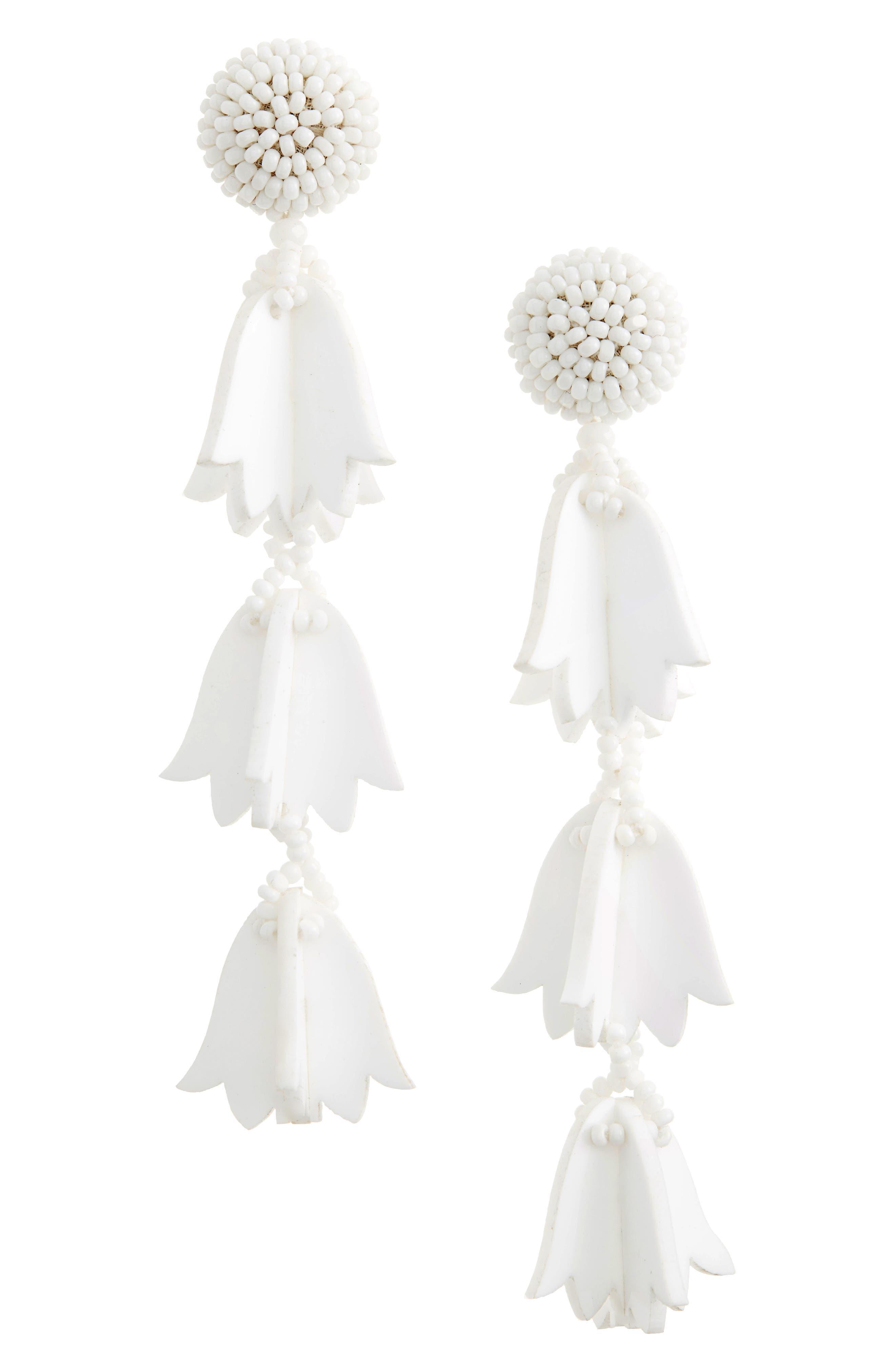 Runway Bellflower Drop Earrings,                             Main thumbnail 1, color,                             WHITE