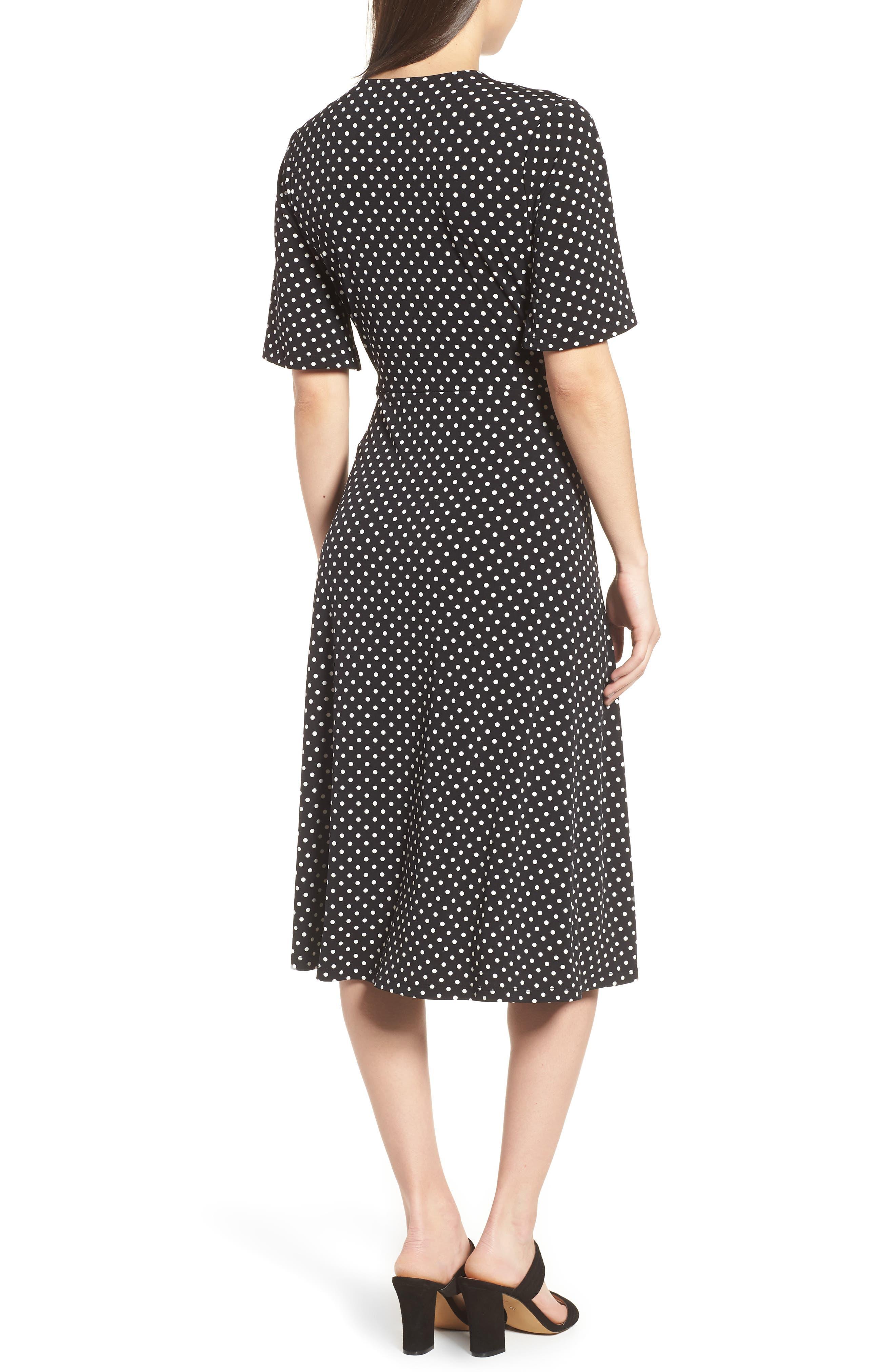Flutter Sleeve Polka Dot Dress,                             Alternate thumbnail 2, color,