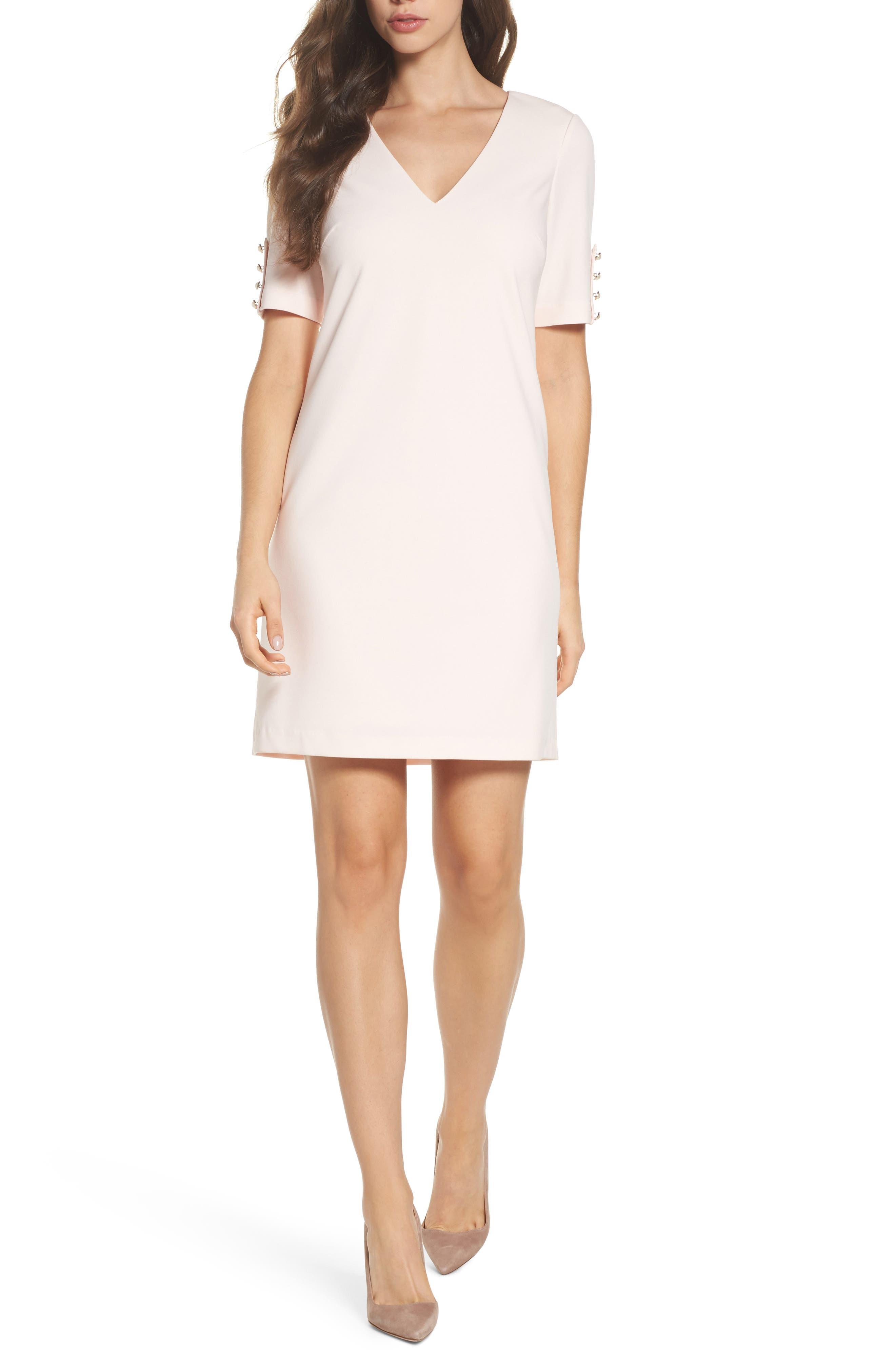 Button Sleeve Shift Dress,                         Main,                         color,