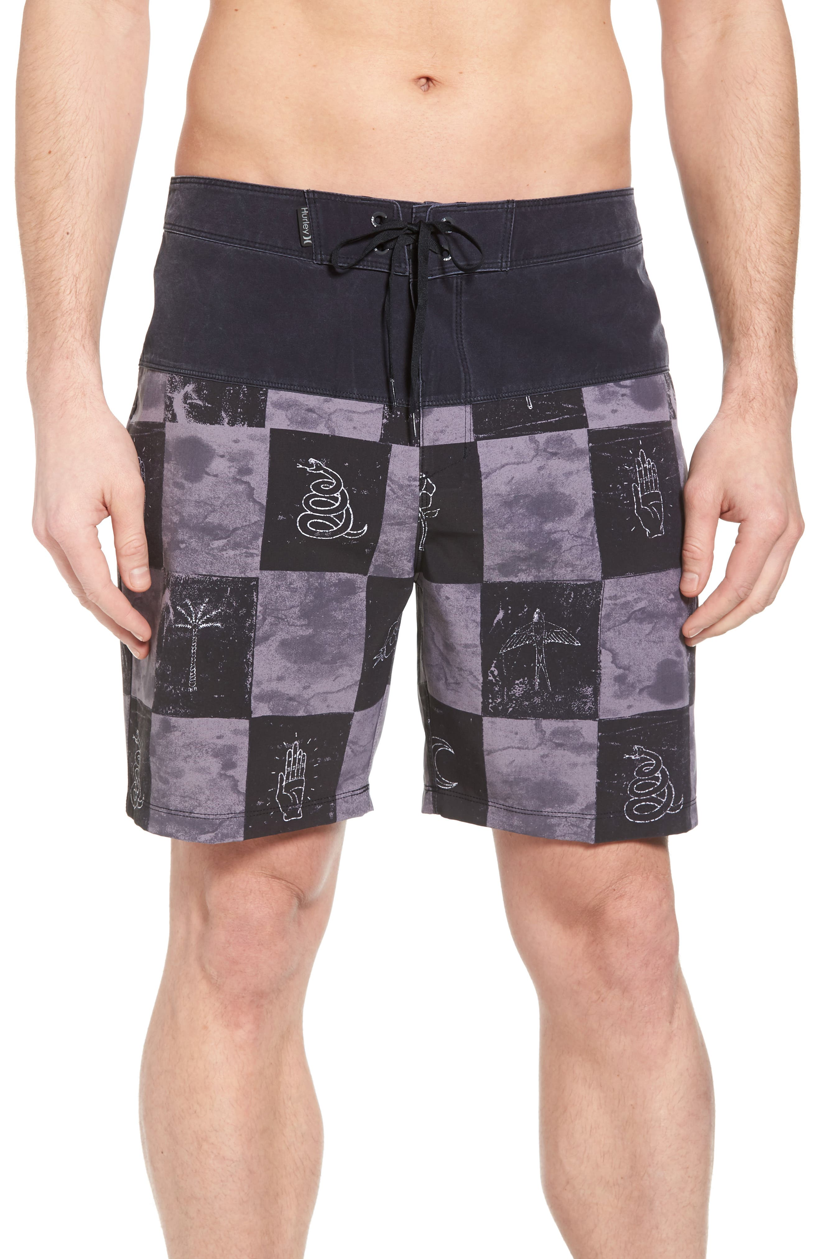 Phantom Surfcheck Board Shorts,                         Main,                         color, BLACK