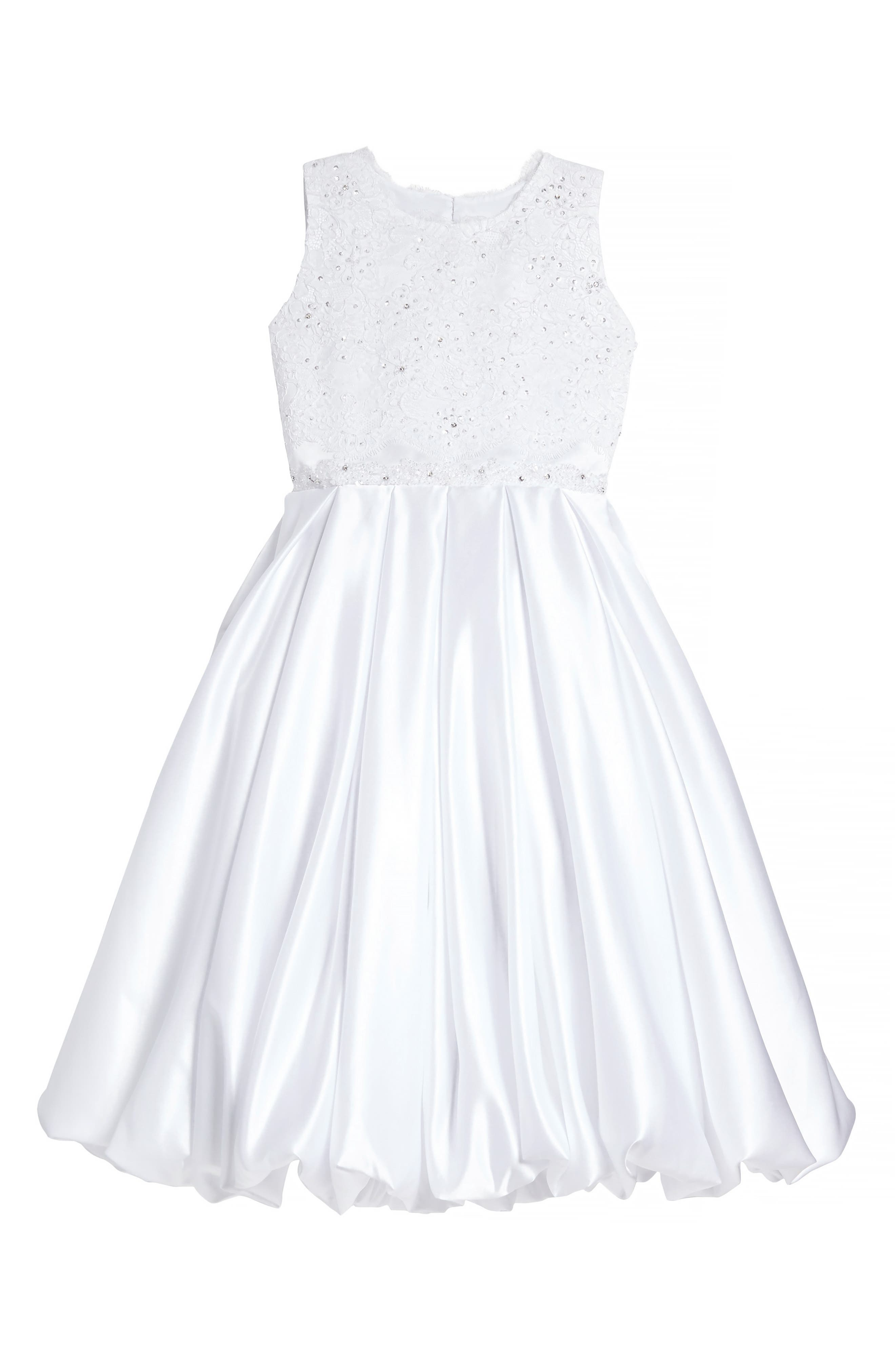 Beaded Lace & Satin First Communion Dress,                             Main thumbnail 1, color,