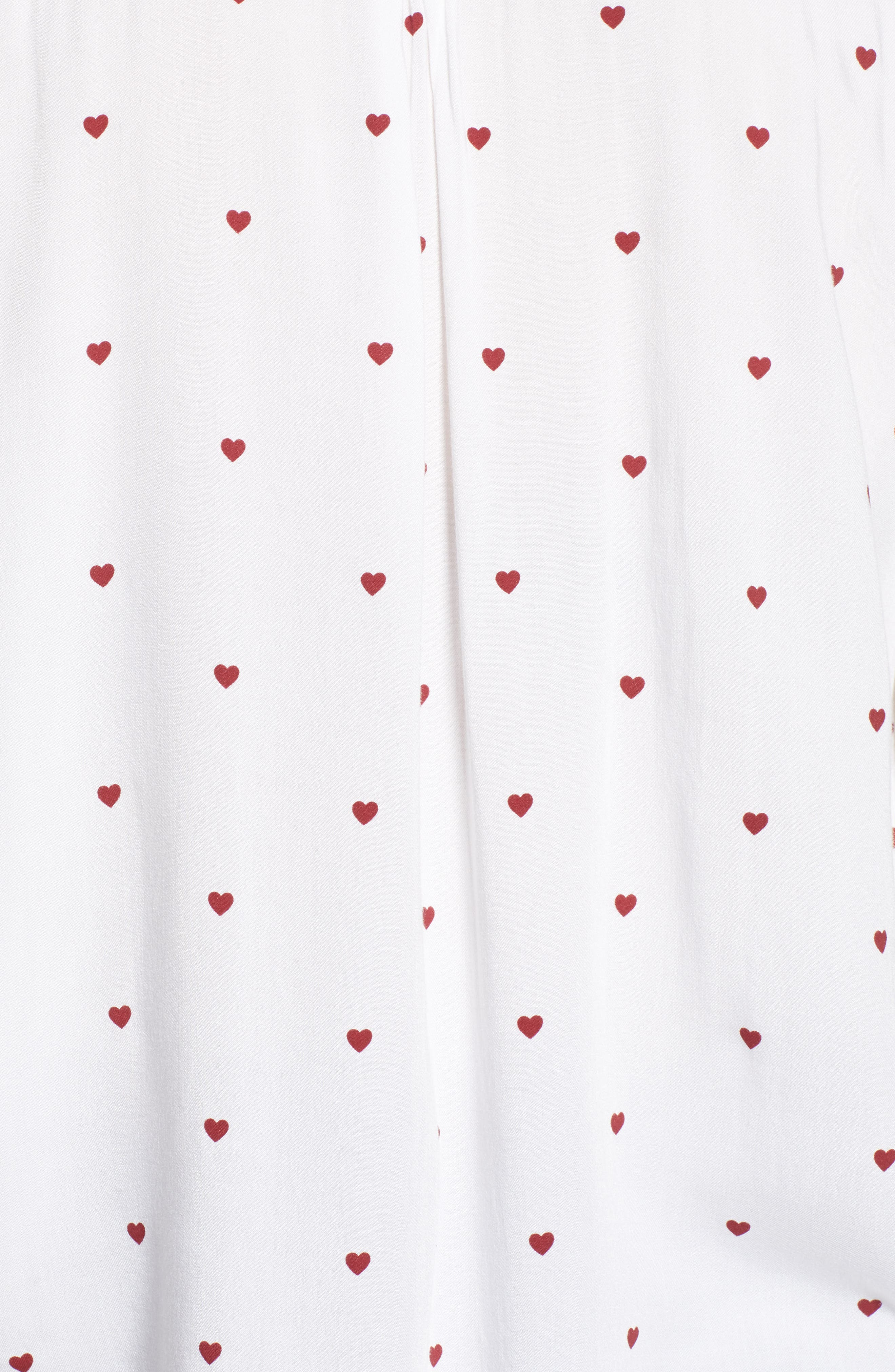Rocsi Heart Print Shirt,                             Alternate thumbnail 5, color,                             WHITE RED HEARTS