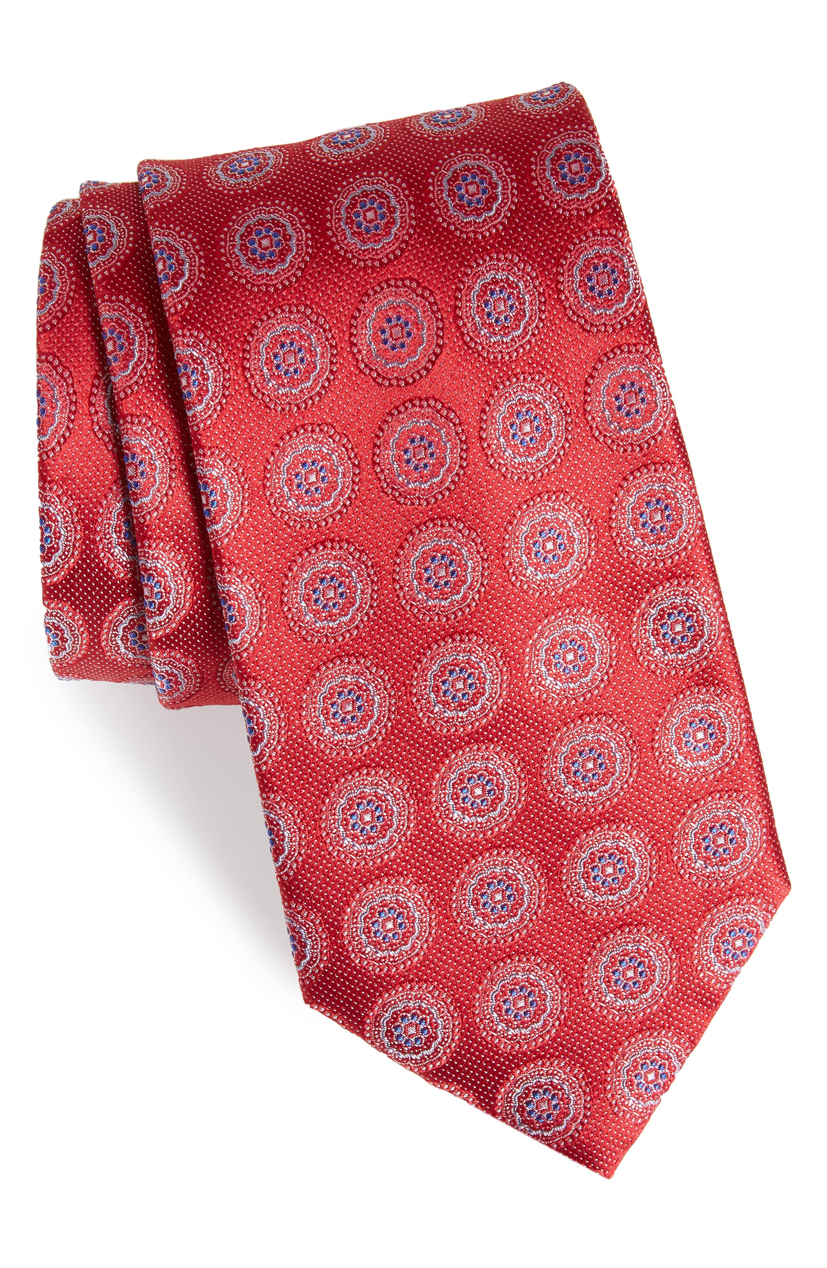 Pinpoint Medallion Silk Tie,                             Main thumbnail 5, color,