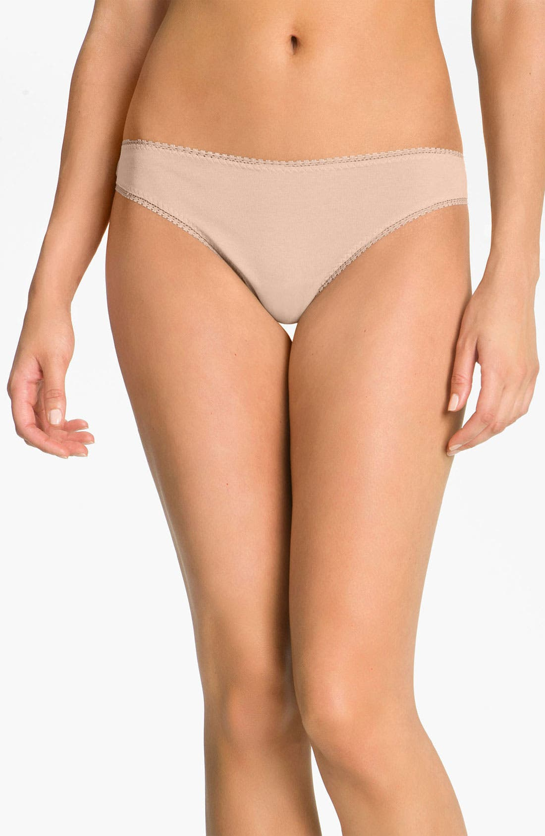ONGOSSAMER Cabana Cotton Stretch Hip G-String in Champagne