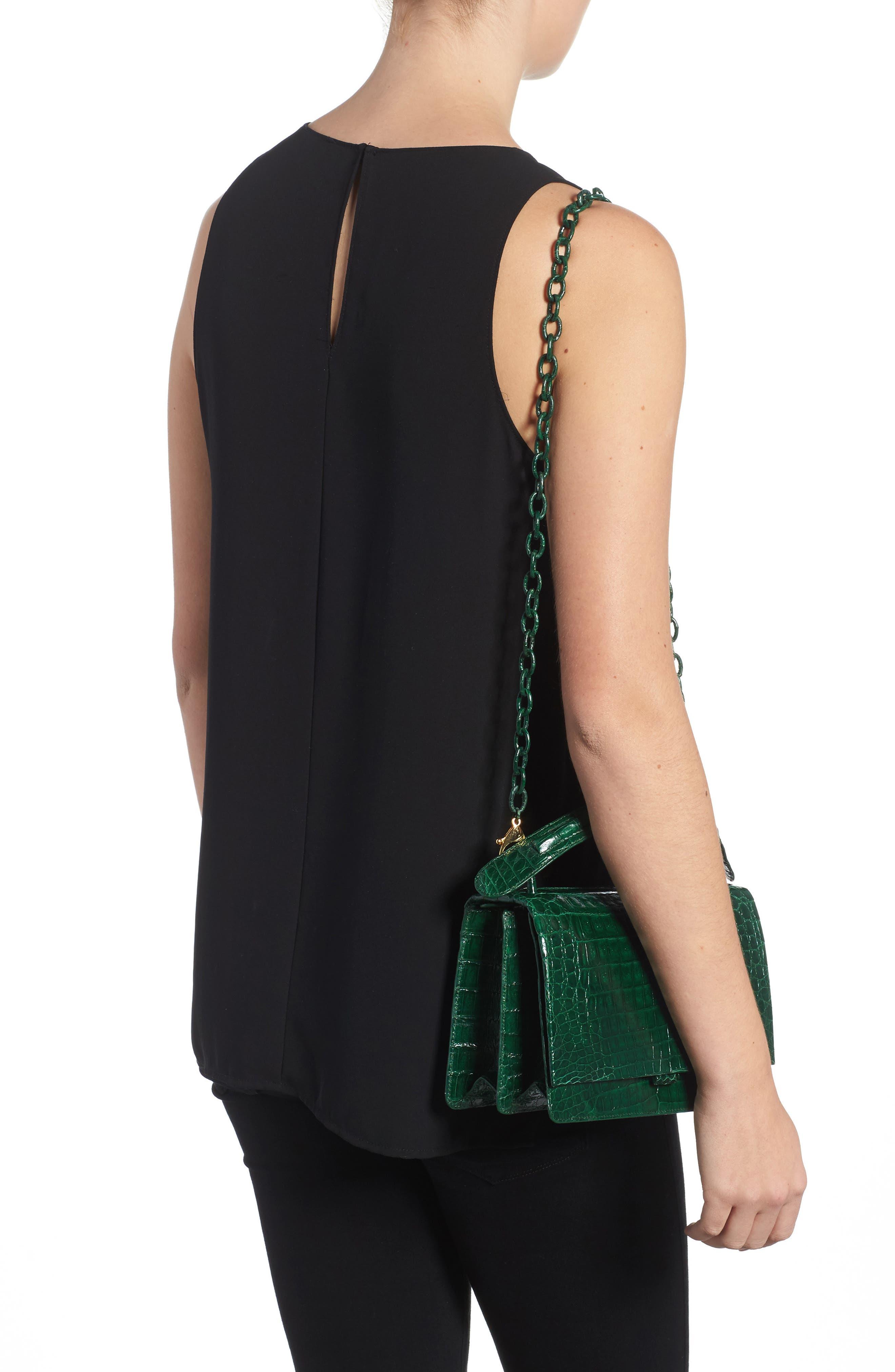 Divino Genuine Crocodile Top Handle Bag,                             Alternate thumbnail 2, color,                             KELLY GREEN SHINY