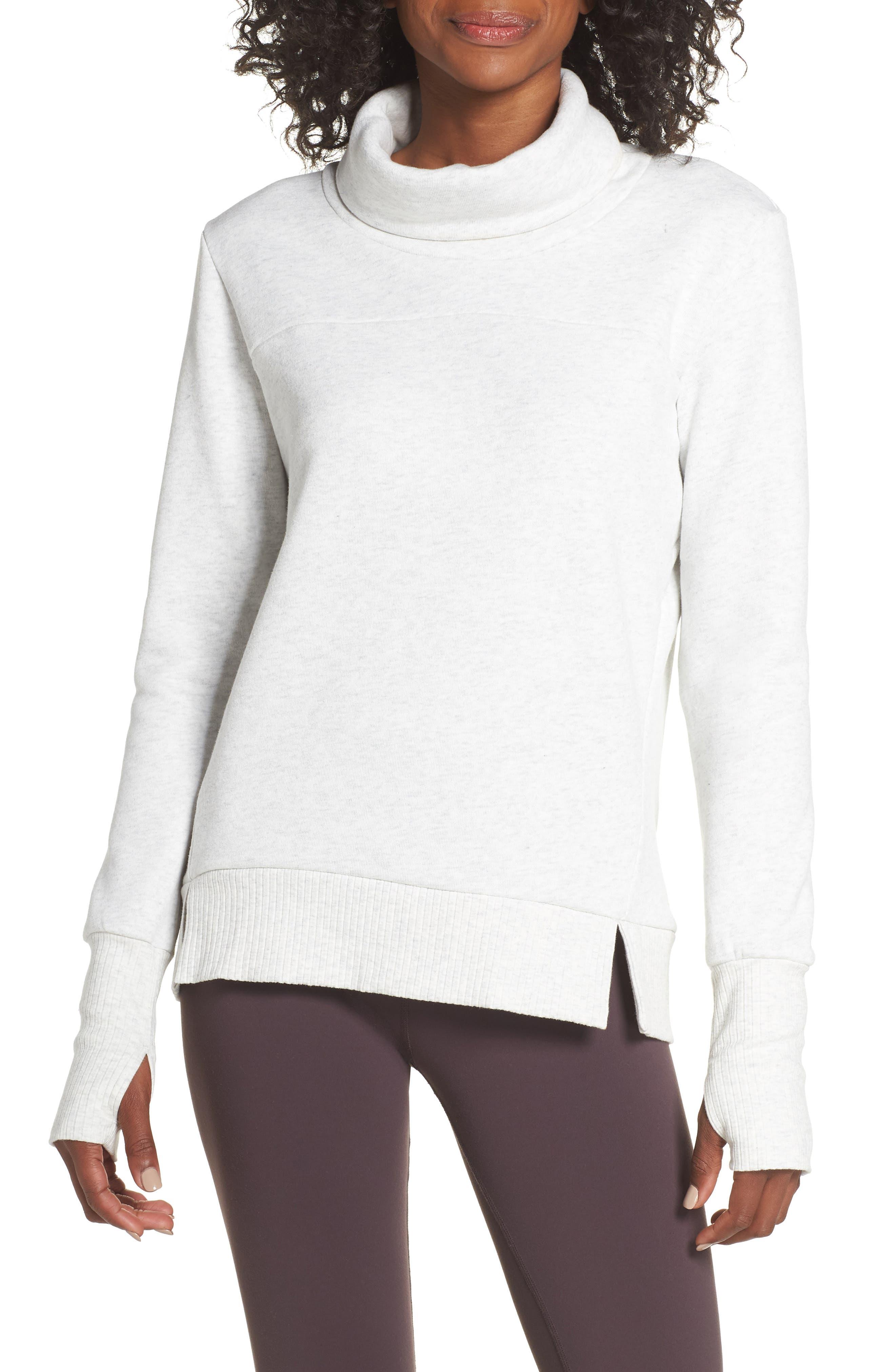 'Haze' Funnel Neck Sweatshirt,                             Main thumbnail 1, color,                             WHITE HEATHER