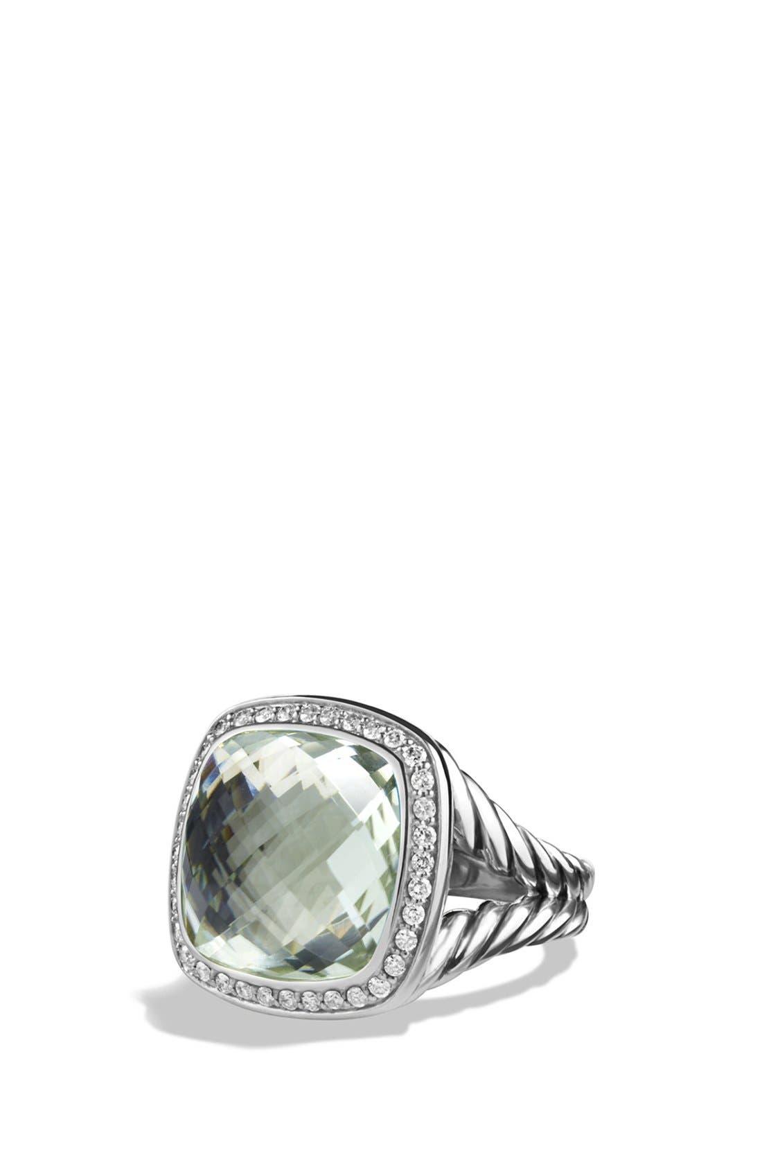 'Albion' Ring with Semiprecious Stone and Diamonds,                             Main thumbnail 1, color,                             PRASIOLITE