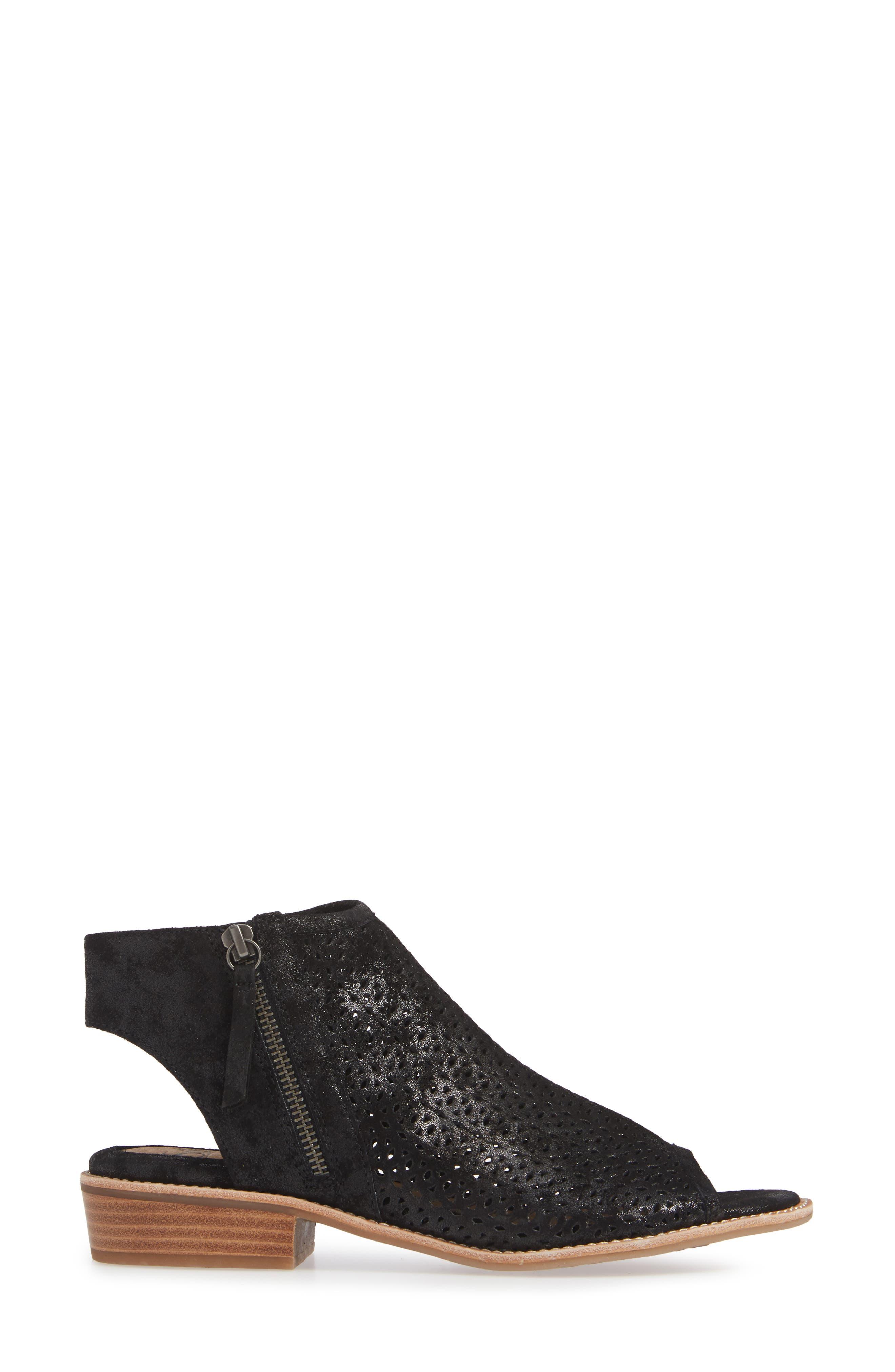 Natesa Perforated Sandal,                             Alternate thumbnail 3, color,                             BLACK SUEDE