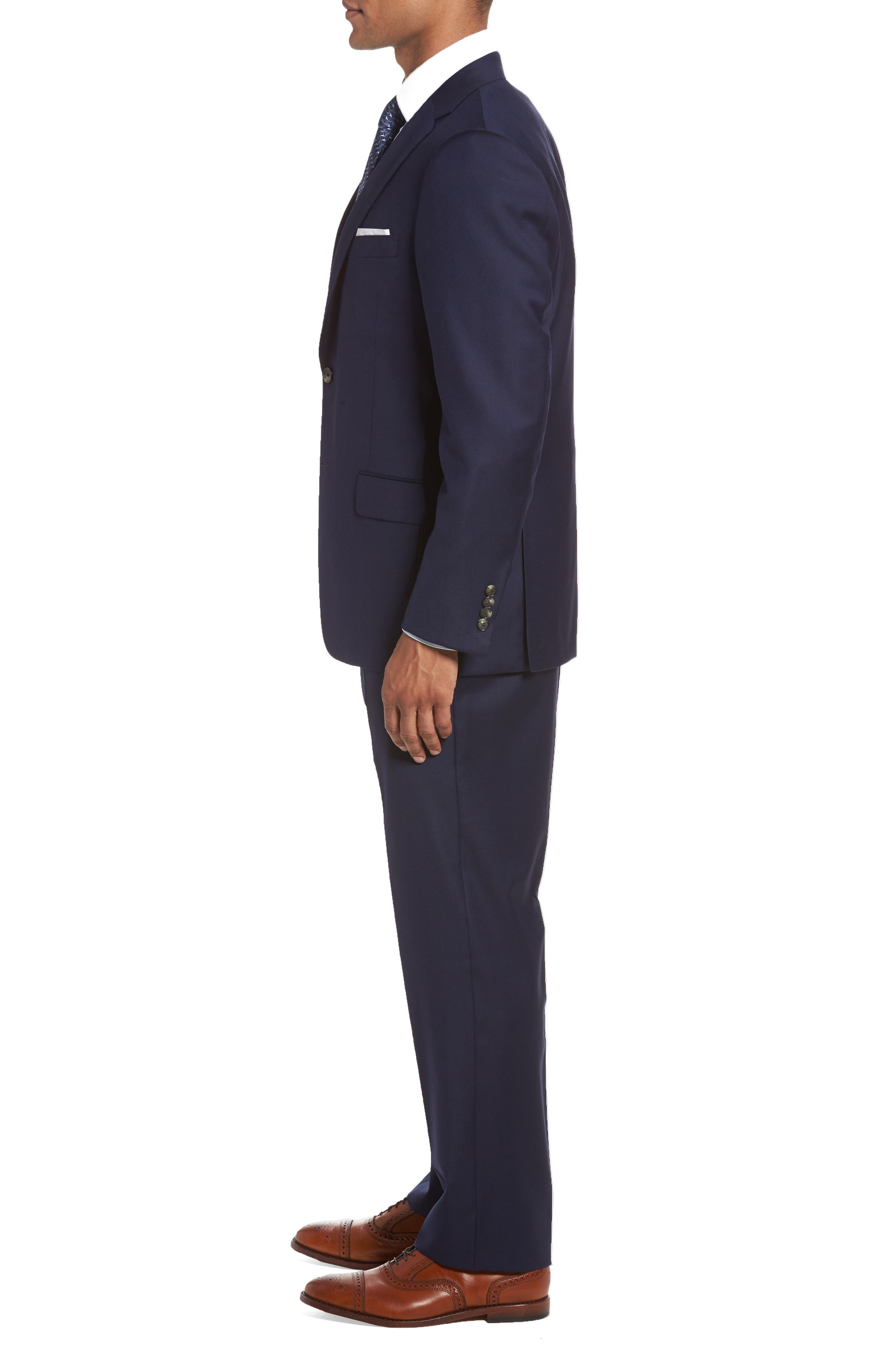 Classic B Fit Loro Piana Wool Suit,                             Alternate thumbnail 3, color,                             NAVY