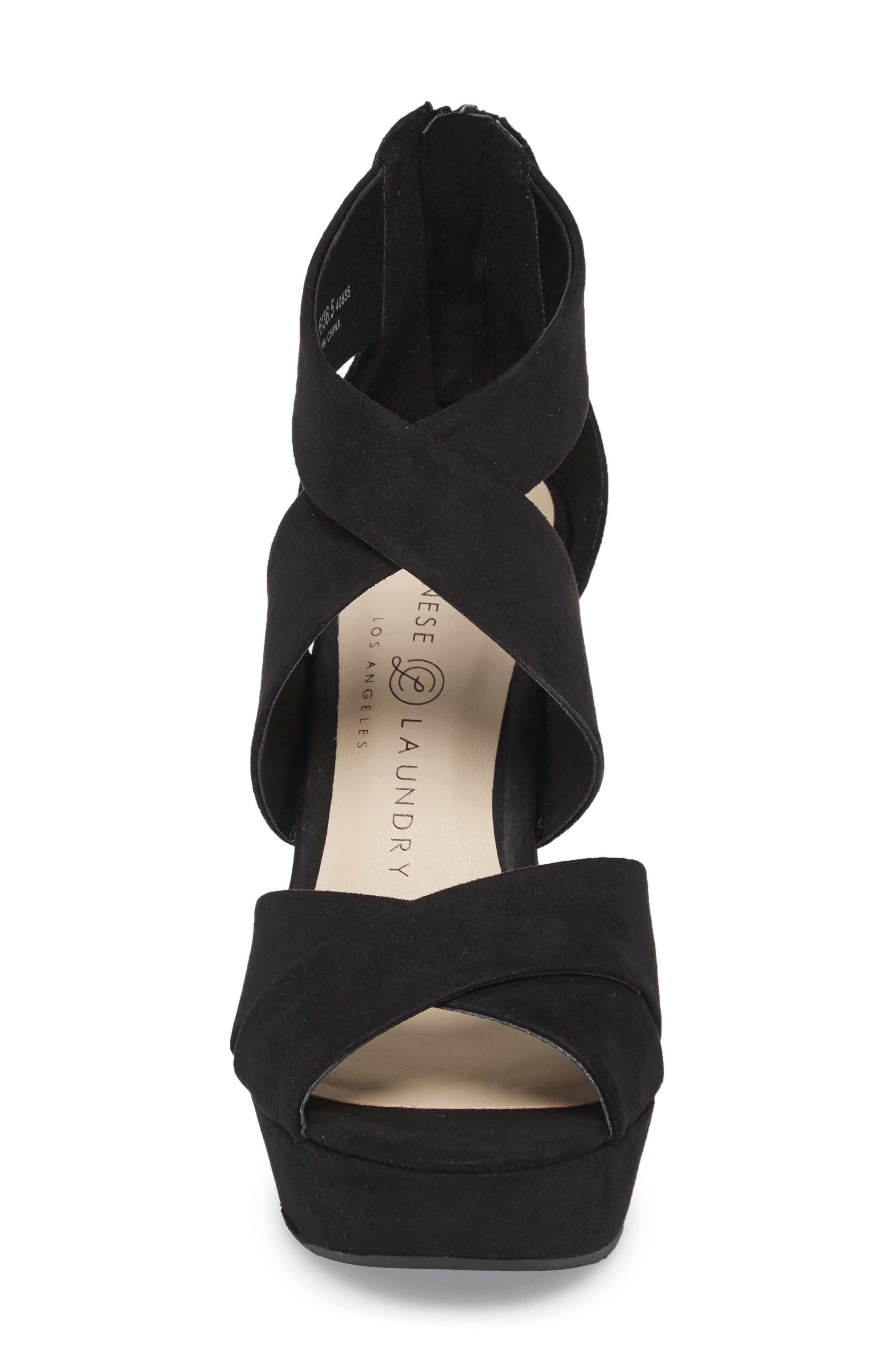 Milani Platform Wedge Sandal,                             Alternate thumbnail 4, color,                             BLACK