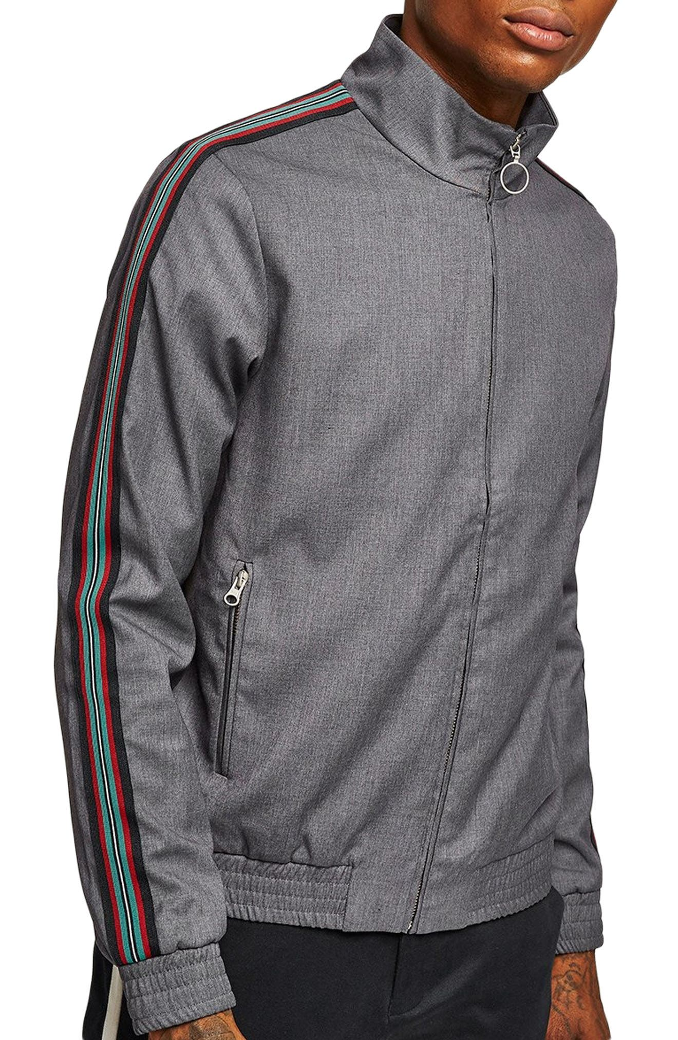 Mélange Stripe Track Jacket,                             Main thumbnail 1, color,                             GREY MULTI