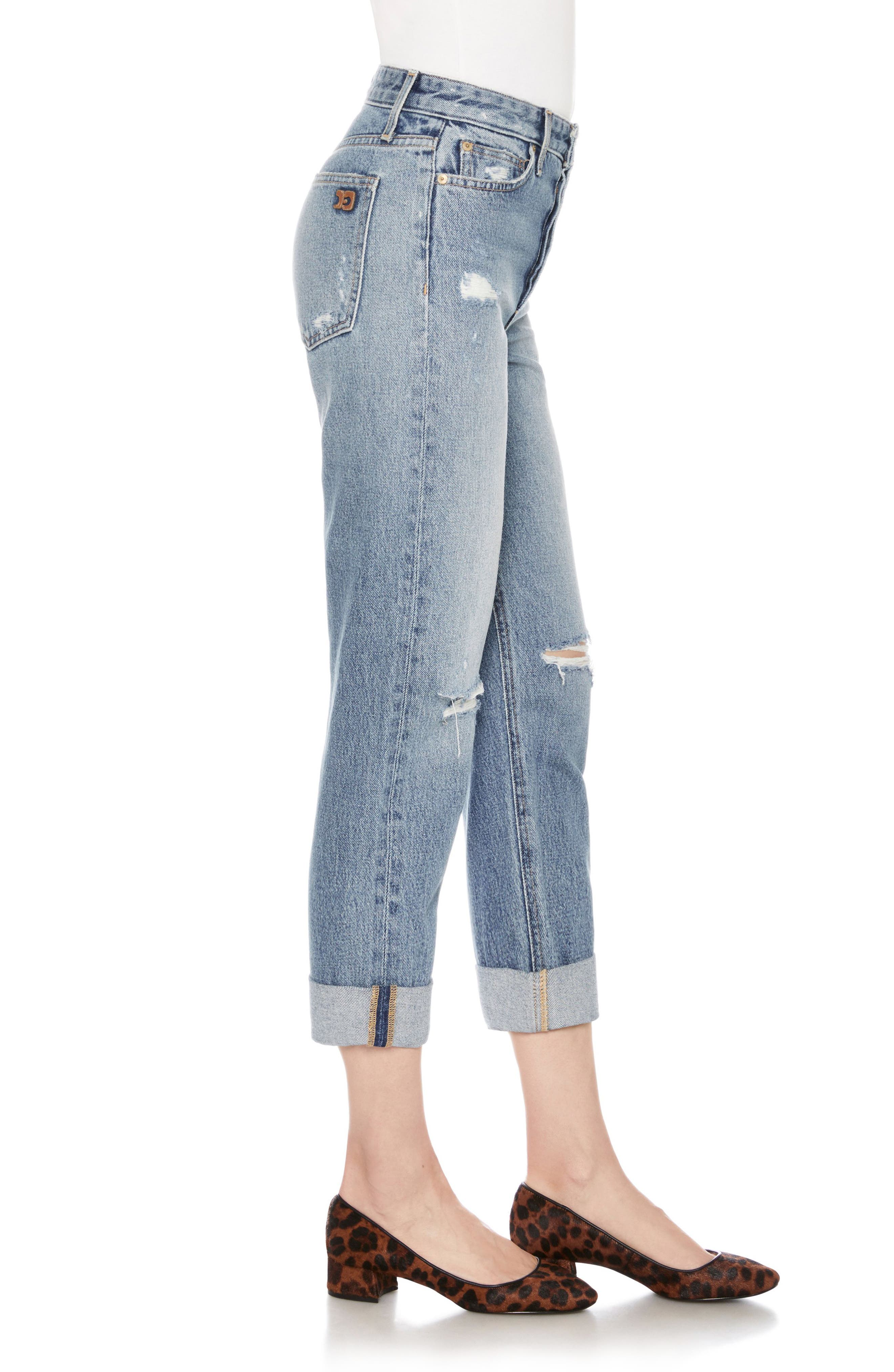 The Smith Distressed Crop Boyfriend Jeans,                             Alternate thumbnail 3, color,                             415