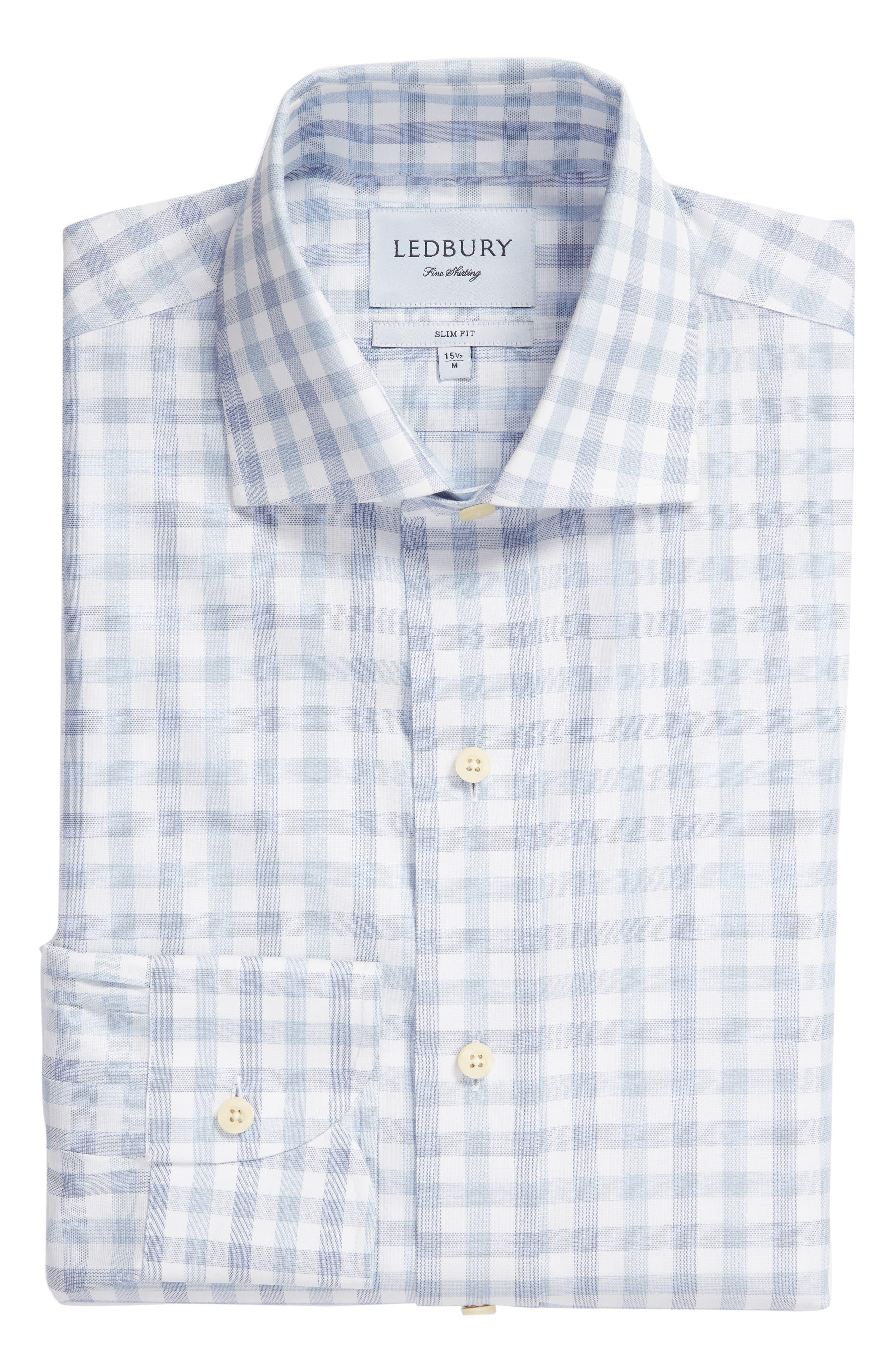Corbly Trim Fit Check Dress Shirt,                             Alternate thumbnail 5, color,                             LIGHT BLUE