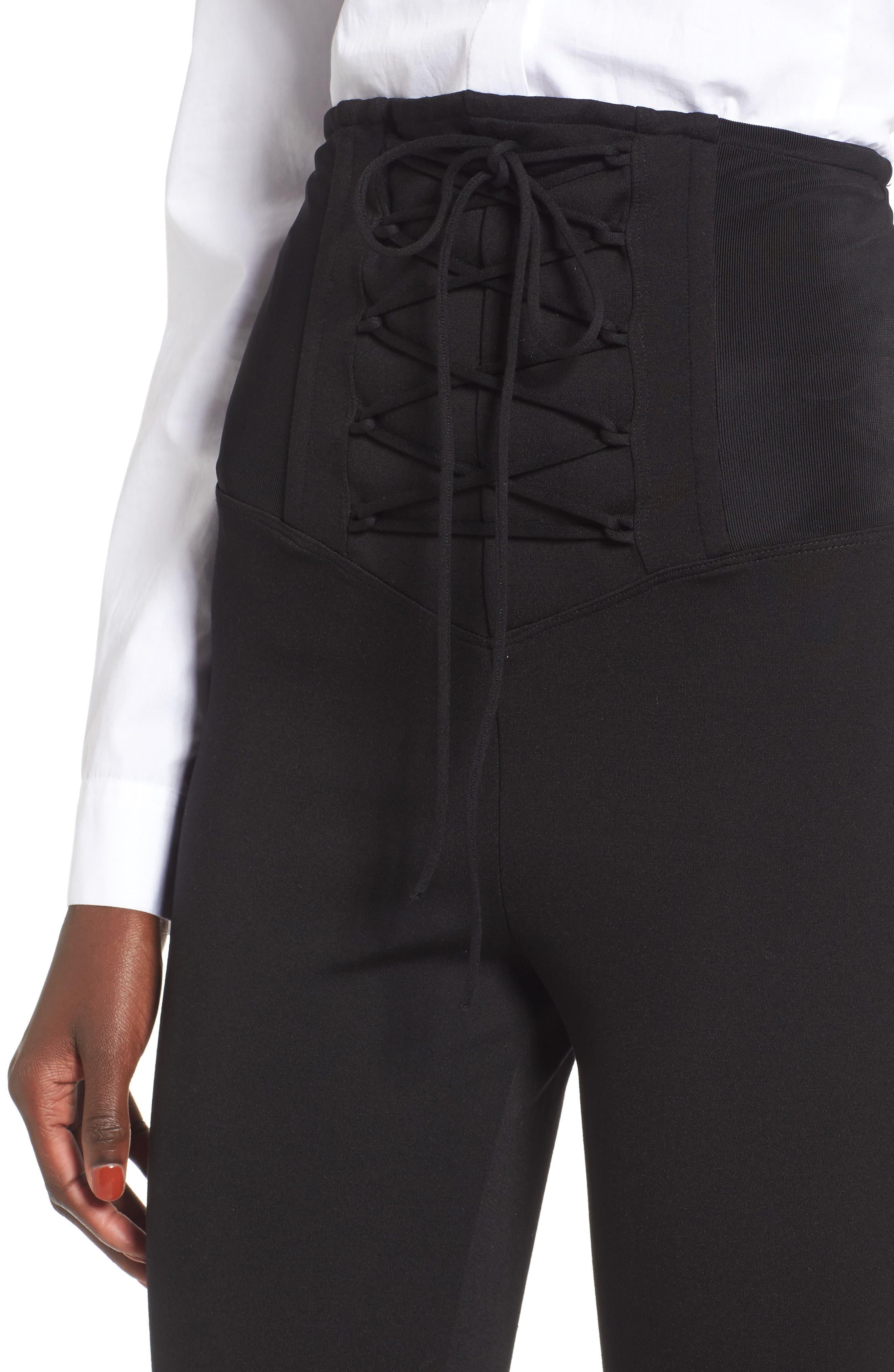 High Waist Lace-Up Pants,                             Alternate thumbnail 4, color,
