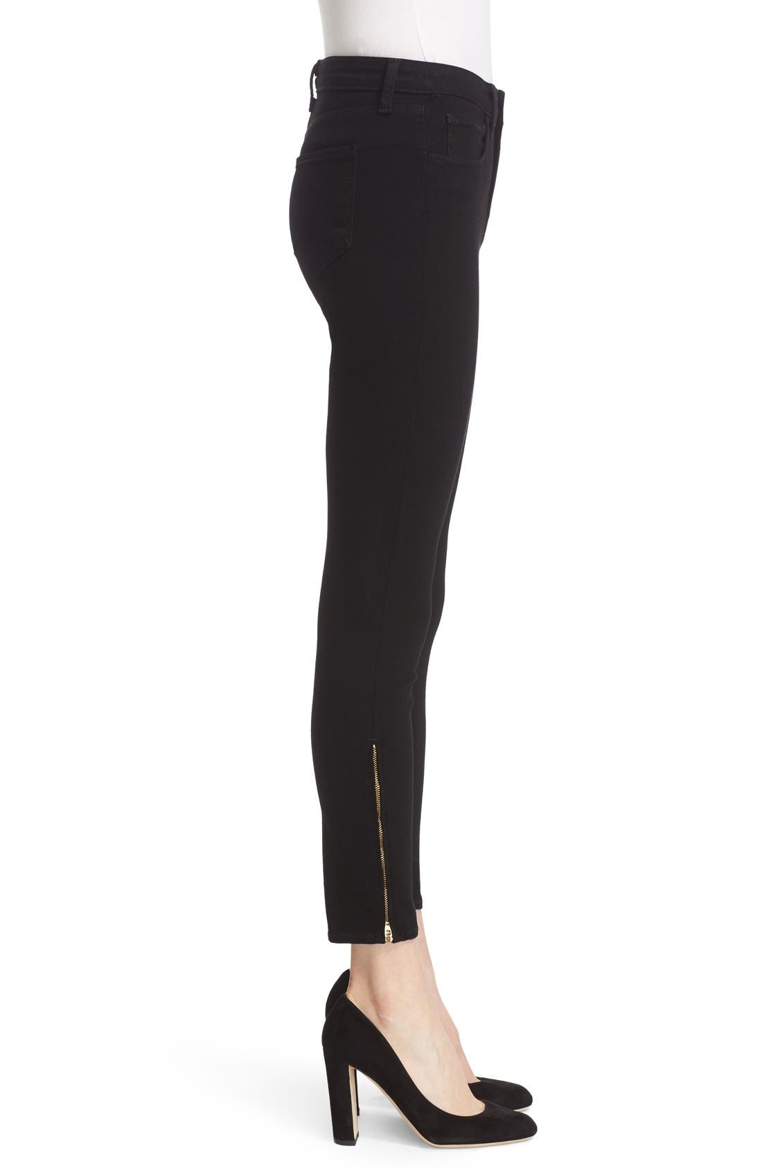 'Andrea' Ankle Zip Skinny Jeans,                             Alternate thumbnail 4, color,                             001