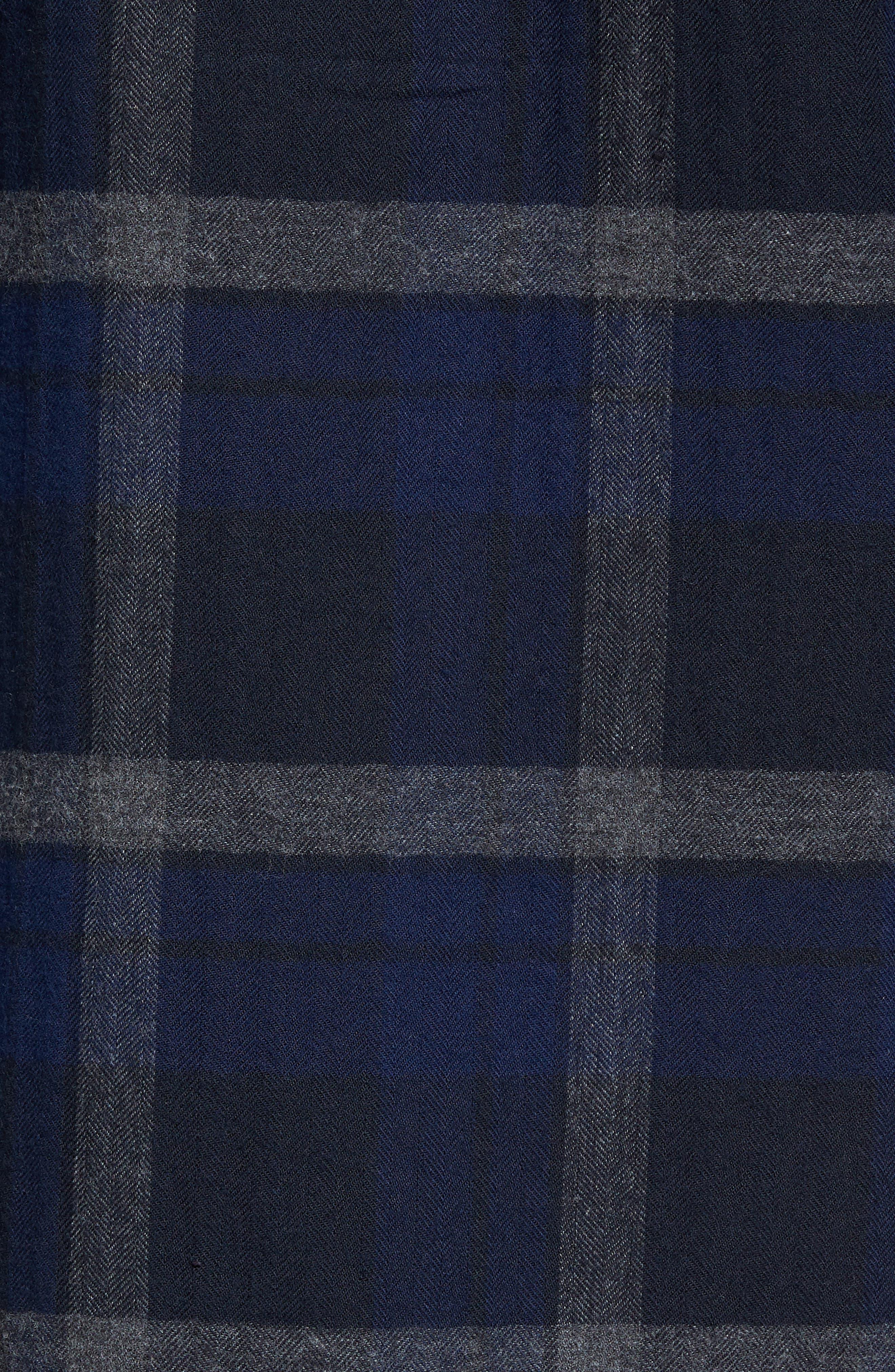 Trim Fit Plaid Flannel Sport Shirt,                             Alternate thumbnail 5, color,                             473
