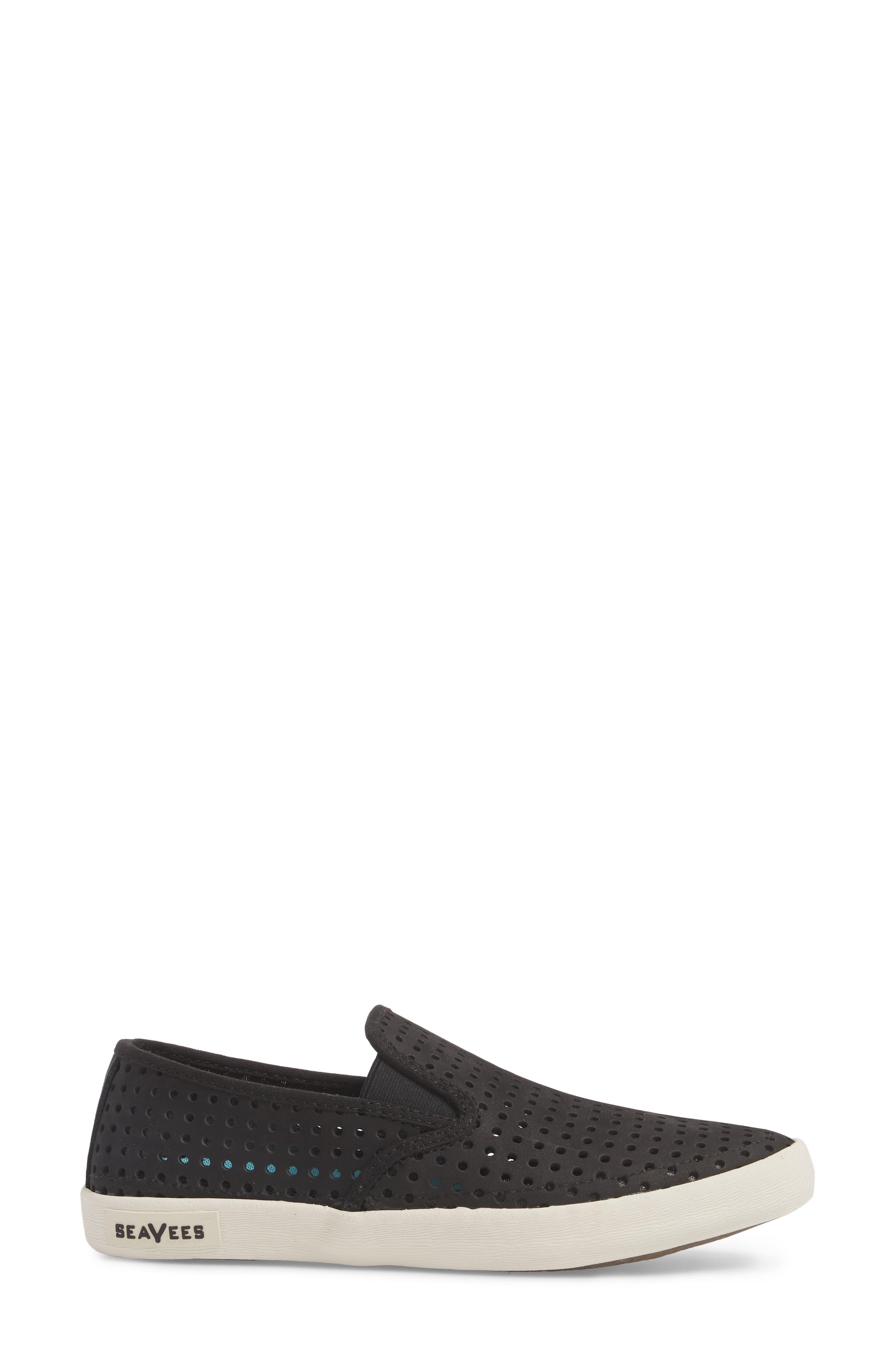 Baja Perforated Slip-On Sneaker,                             Alternate thumbnail 3, color,                             BLACK
