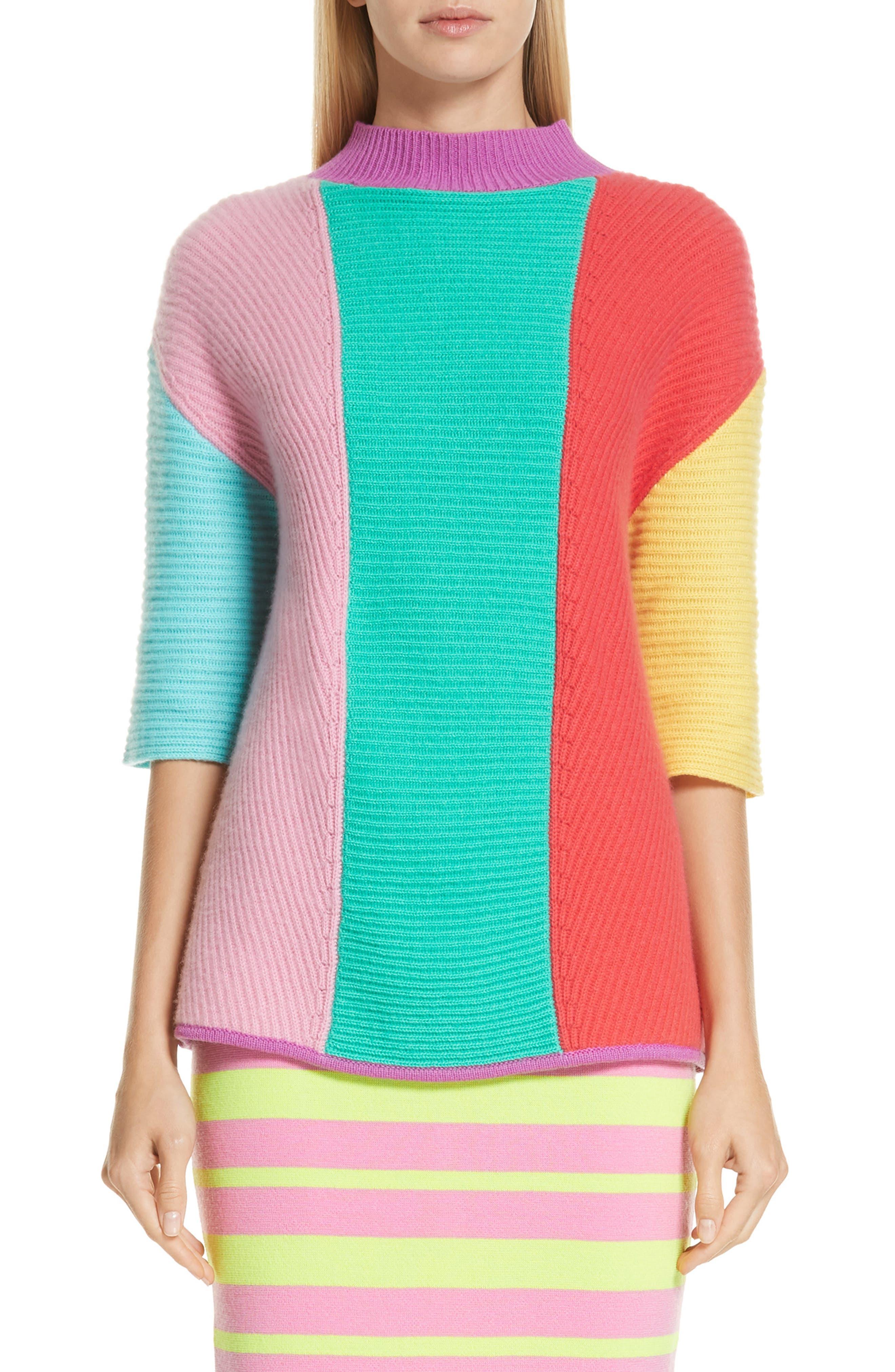 Stripe Short Sleeve Cashmere Sweater,                             Main thumbnail 1, color,                             MULTI