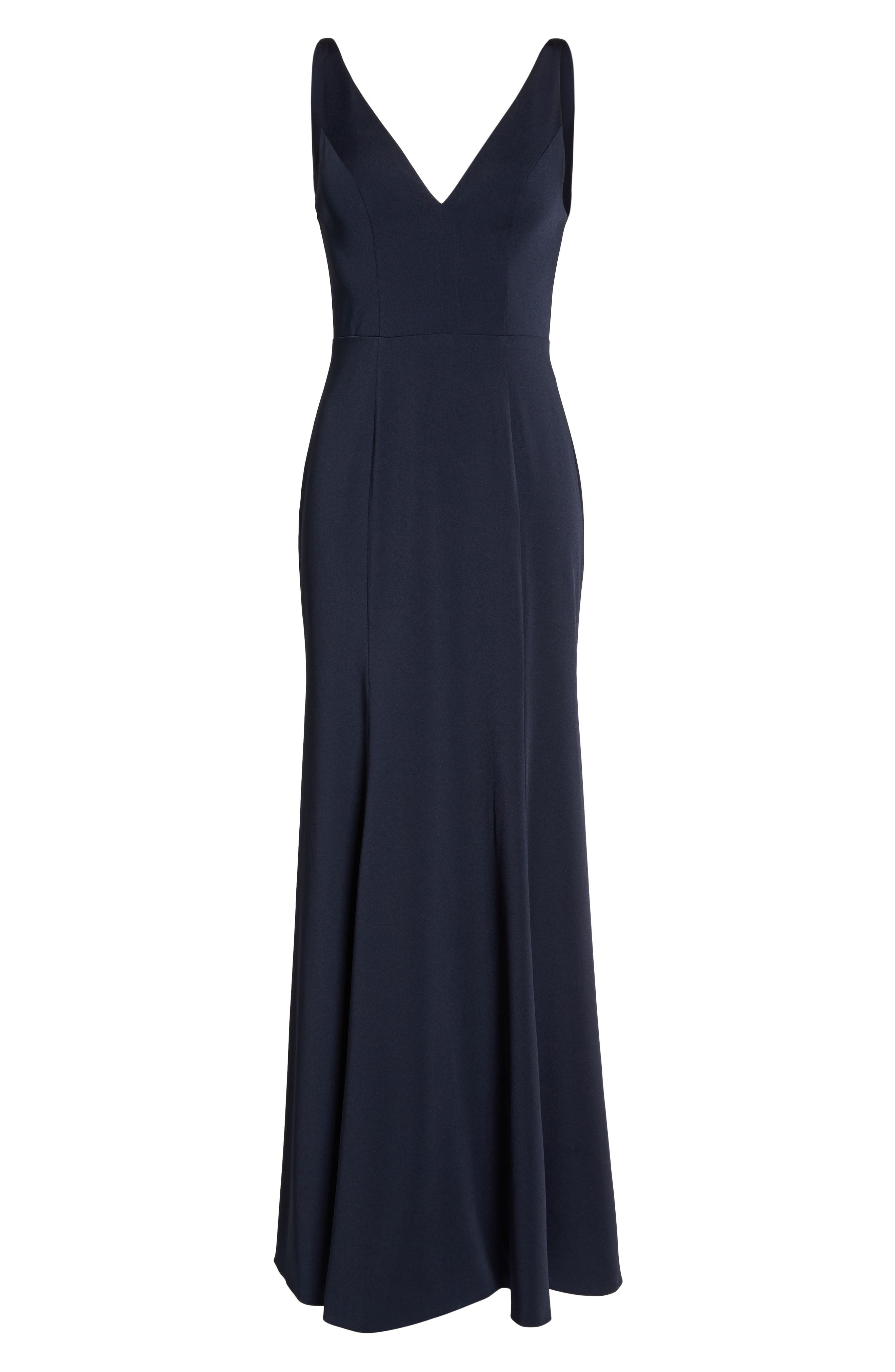 Jade Luxe Crepe V-Neck Gown,                             Alternate thumbnail 7, color,                             MIDNIGHT