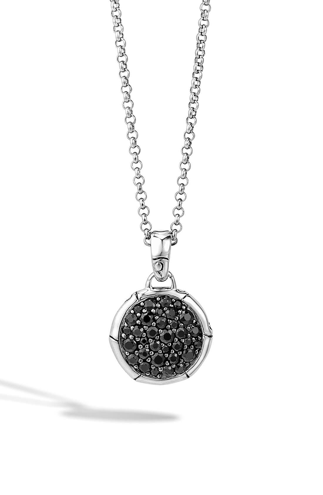 'Bamboo' Small Round Pendant Necklace,                         Main,                         color, BLACK SAPPHIRE