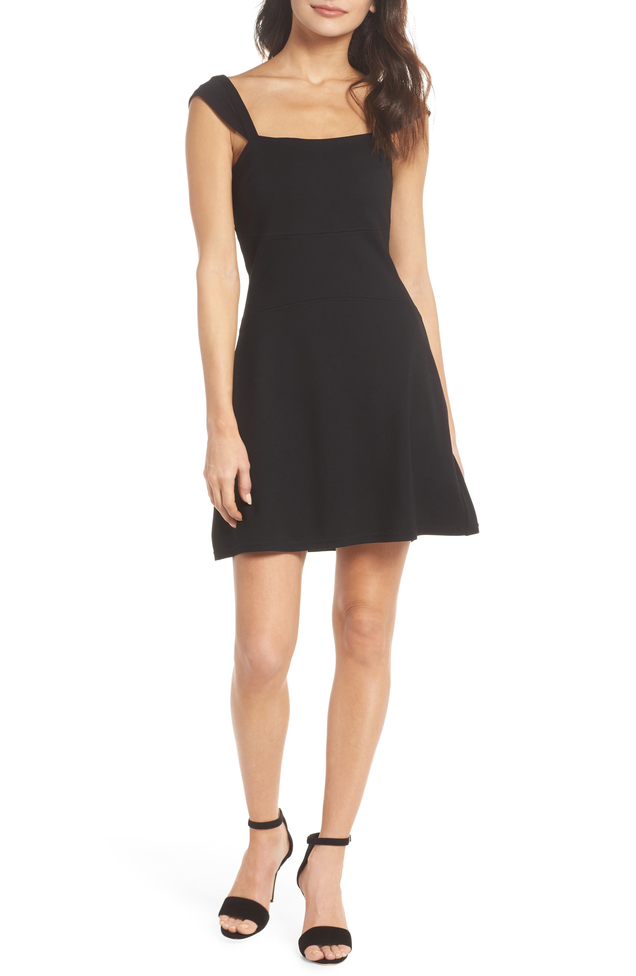 Night at the Improv Ponte Fit & Flare Minidress,                         Main,                         color, 001